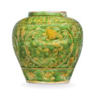 A RARE GREEN AND YELLOW-GLAZED