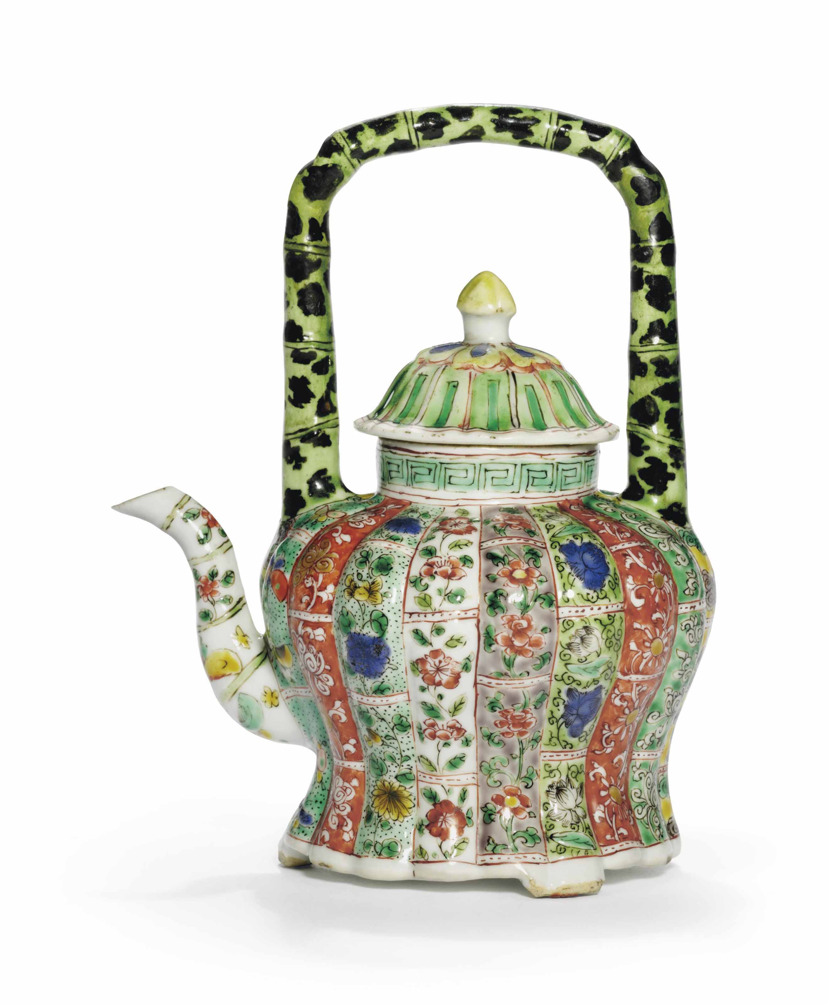 A FAMILLE VERTE LOBED EWER AND