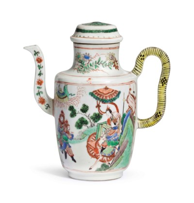 A FAMILLE VERTE EWER AND COVER