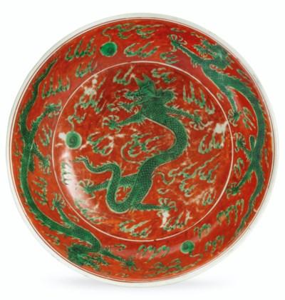 AN IRON-RED-GROUND GREEN-GLAZE