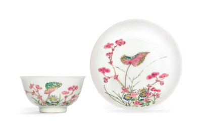 A FAMILLE ROSE CUP AND SAUCER