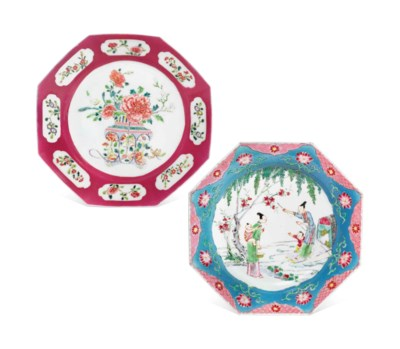 TWO FAMILLE ROSE OCTAGONAL DIS
