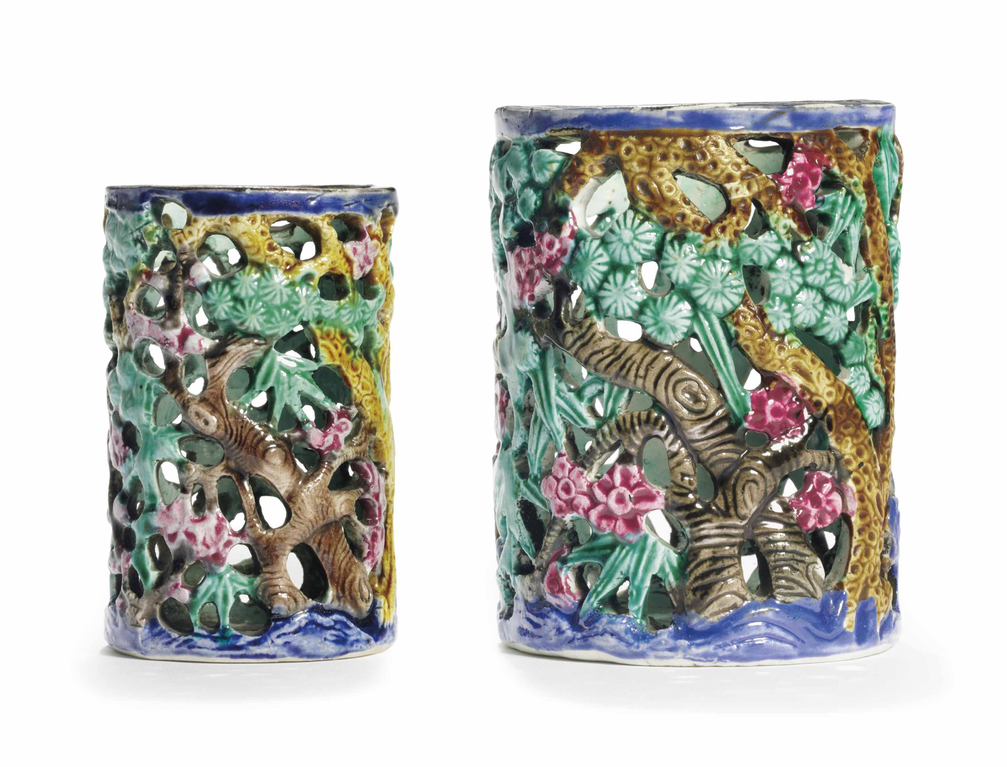 TWO RETICULATED ENAMELED BRUSH
