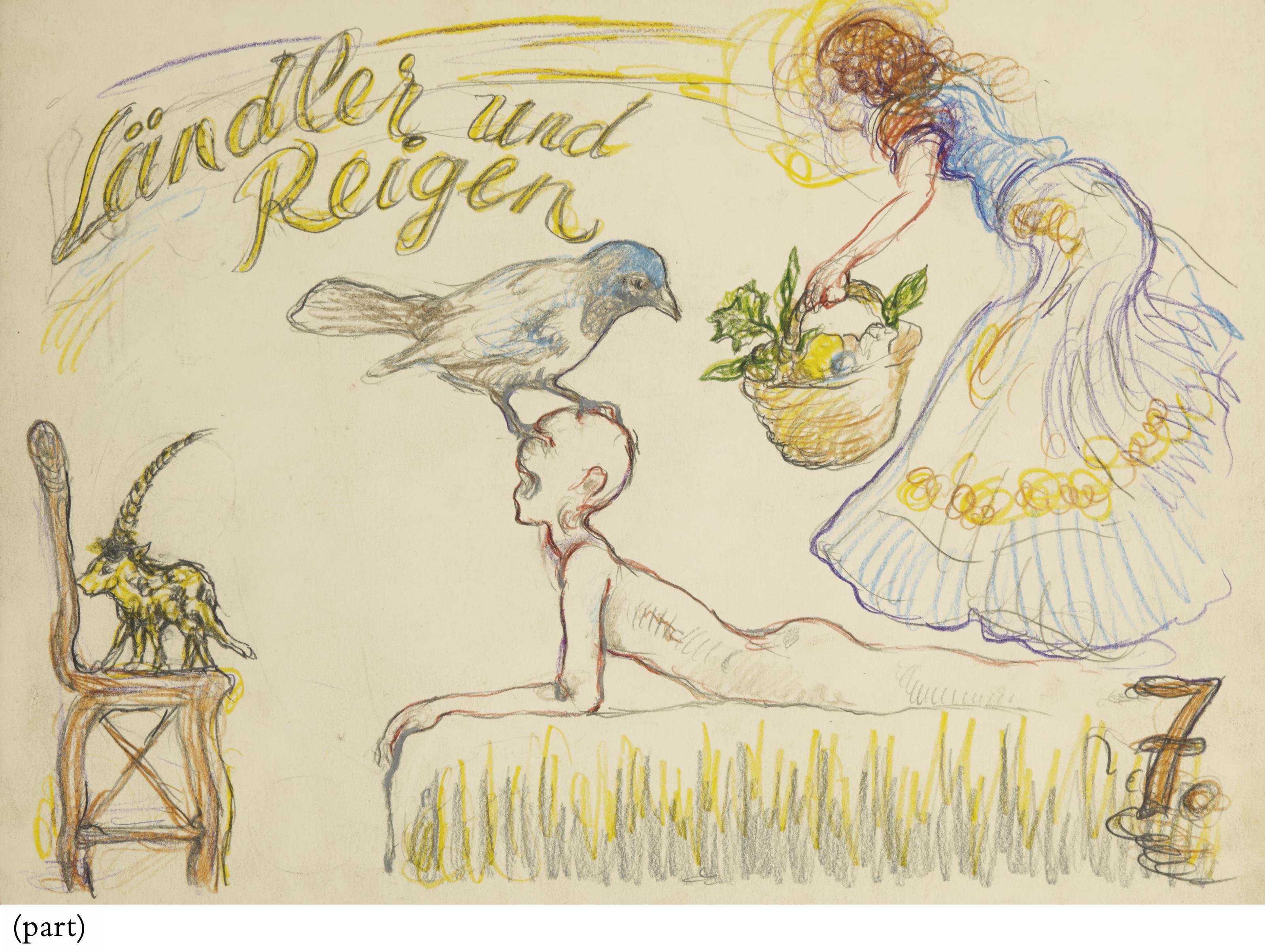 Ländler und reigen. No. 7 de la série Phantom Paläste  (livret d'artiste composé de cinq dessins originaux dans une boîte de l'artiste)