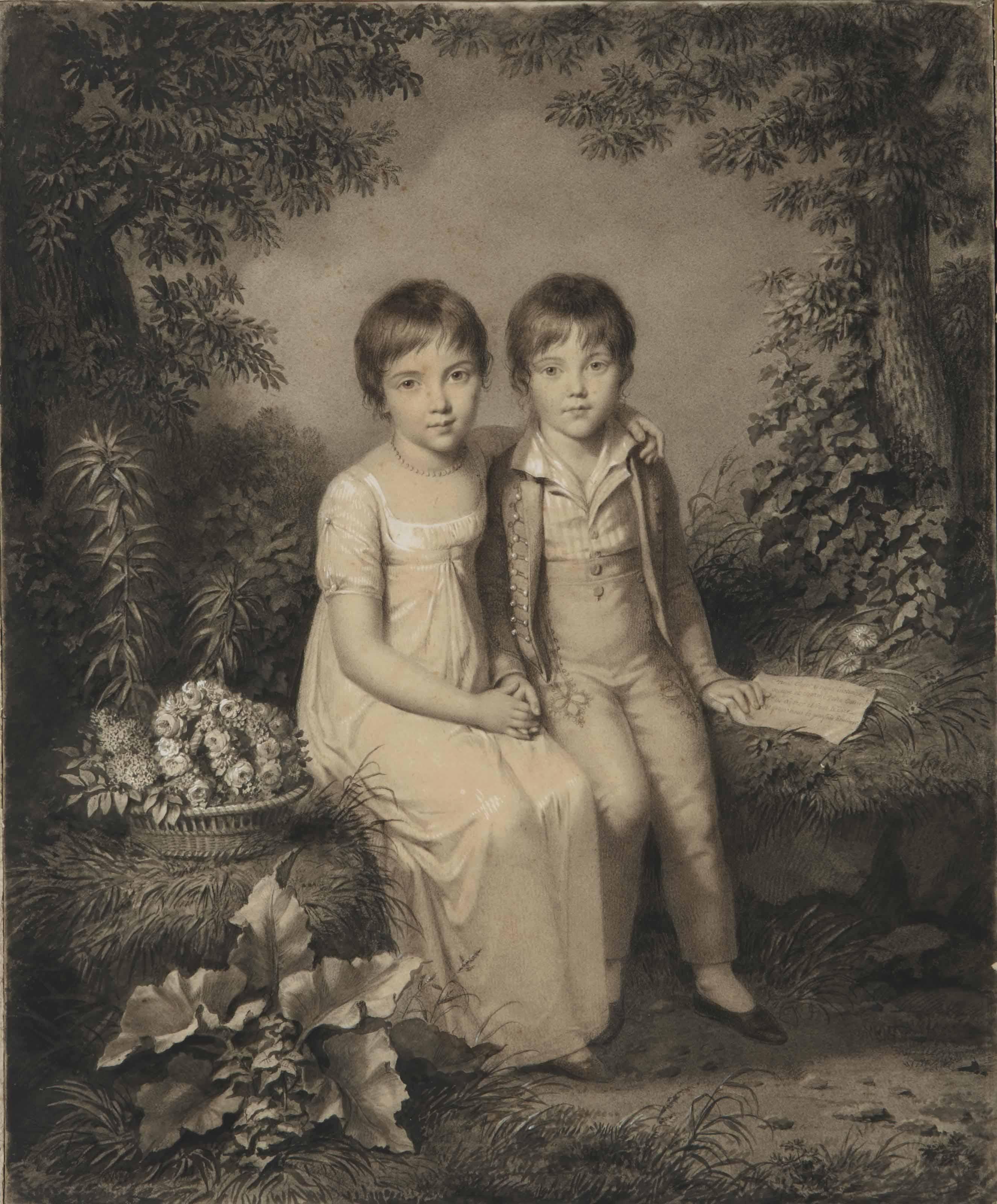 Fillette et garçon dans un paysage