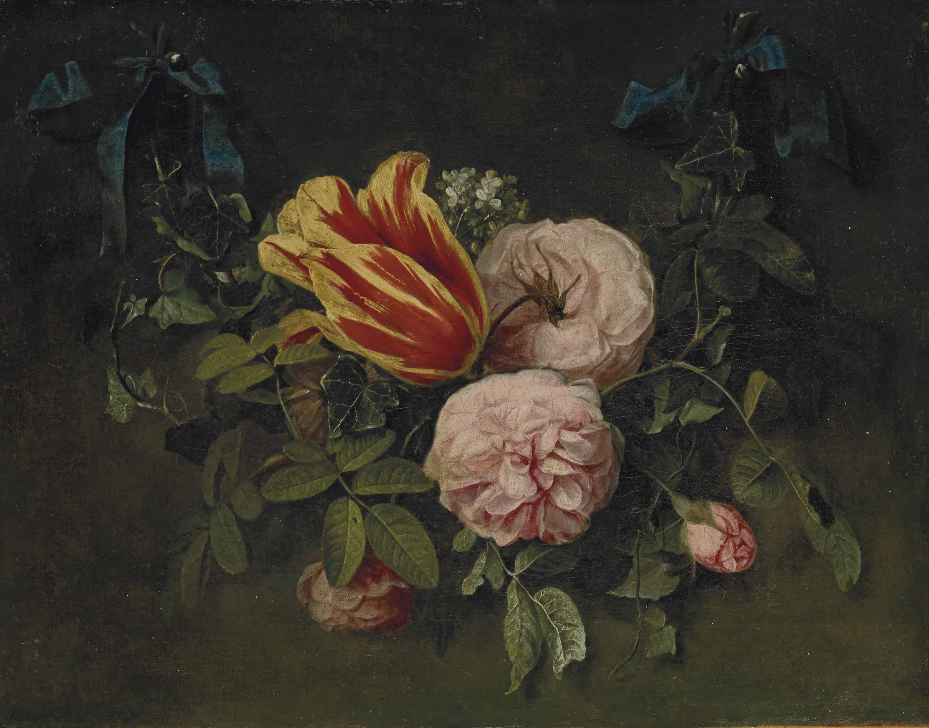 Roses et tulipes tenues par un ruban