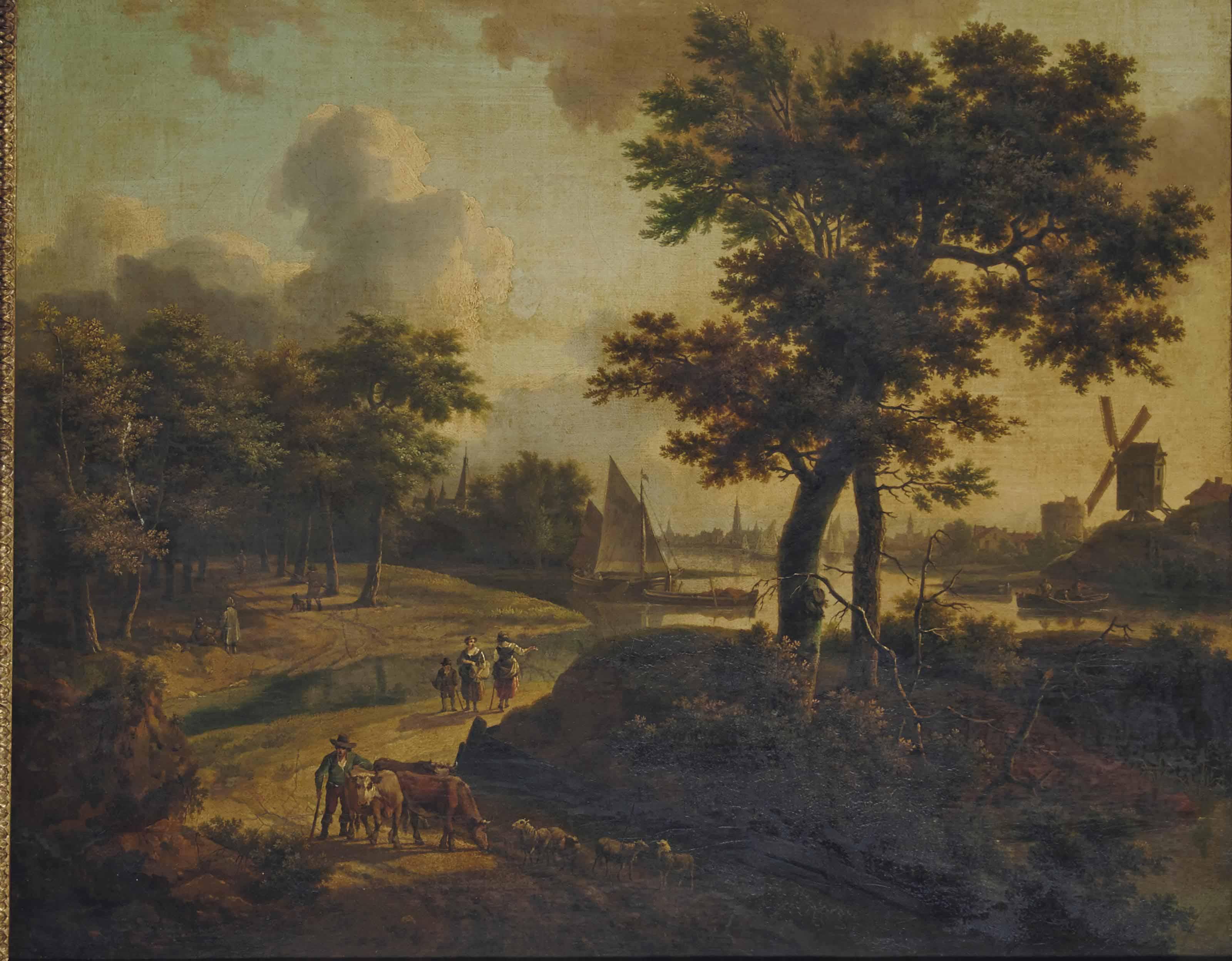 Paysage à la rivière et au moulin