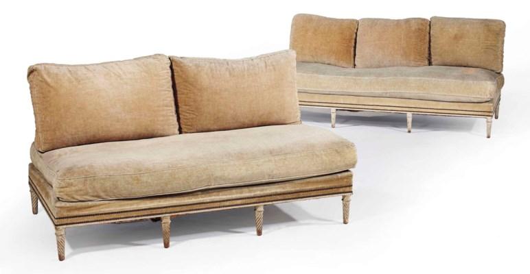 deux banquettes de style louis xvi dans le gout de la maison jansen xxeme siecle christie 39 s. Black Bedroom Furniture Sets. Home Design Ideas