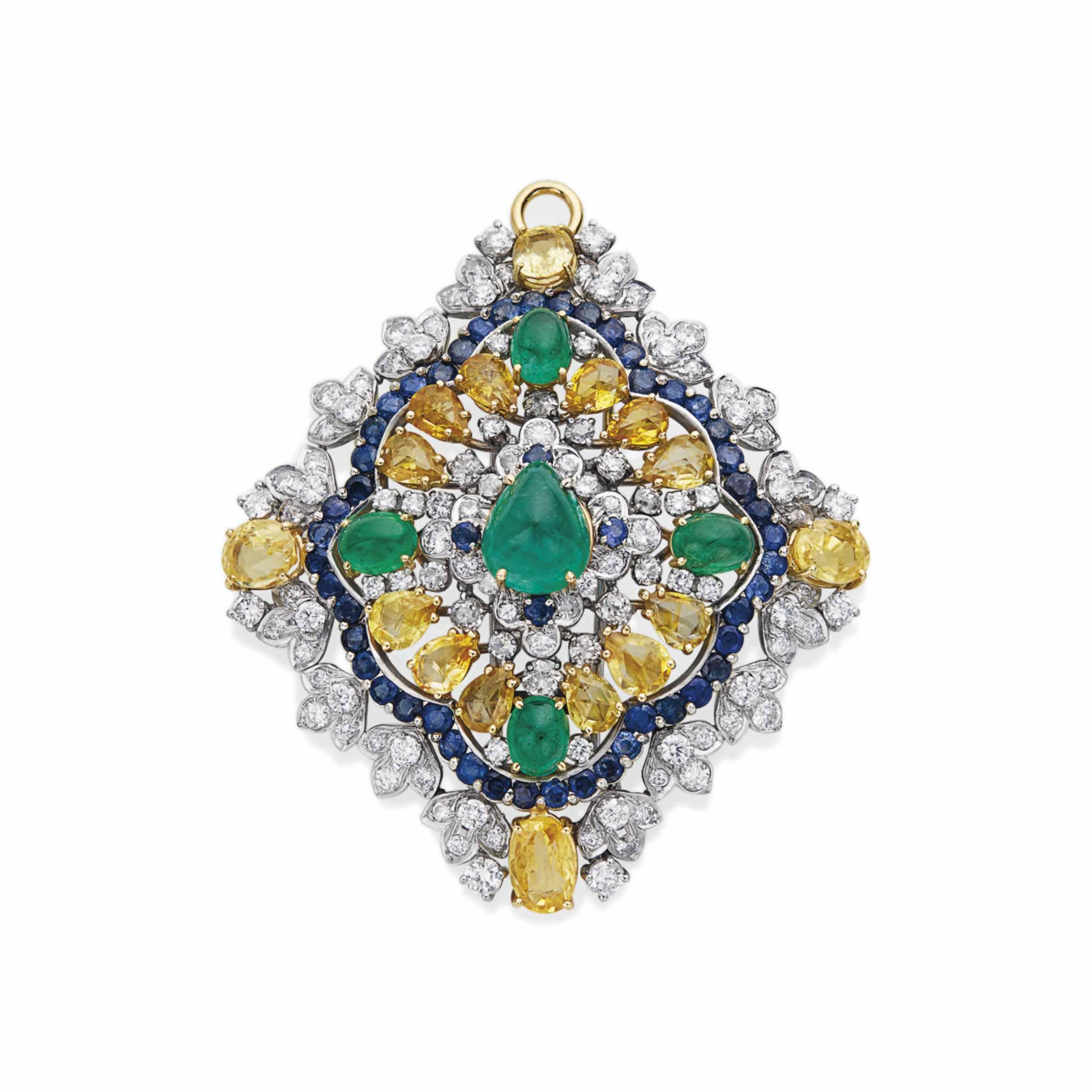 Couleur De L Emeraude pendentif Émeraudes, saphirs, saphirs de couleur et diamants