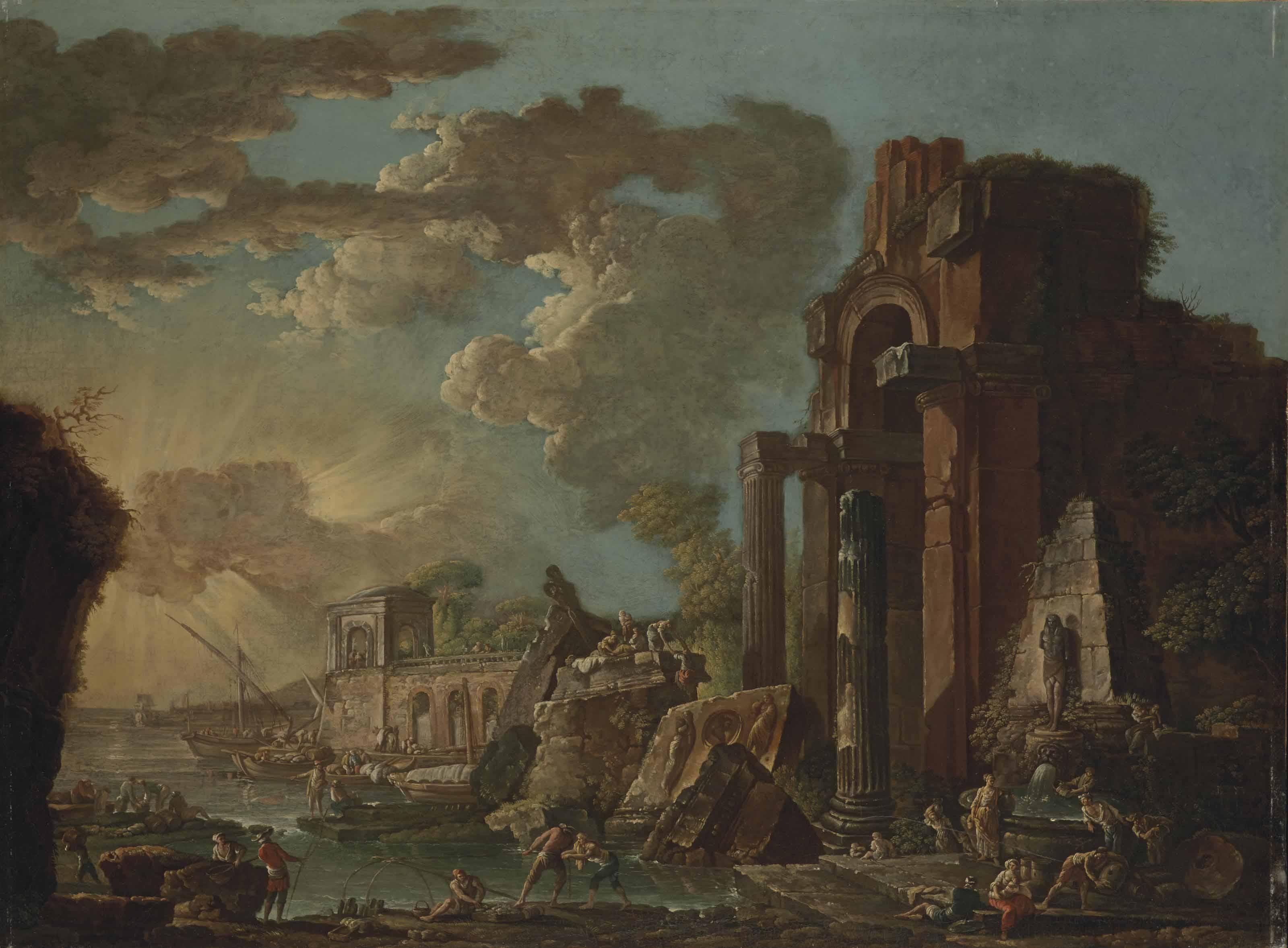 Paysage avec des ruines