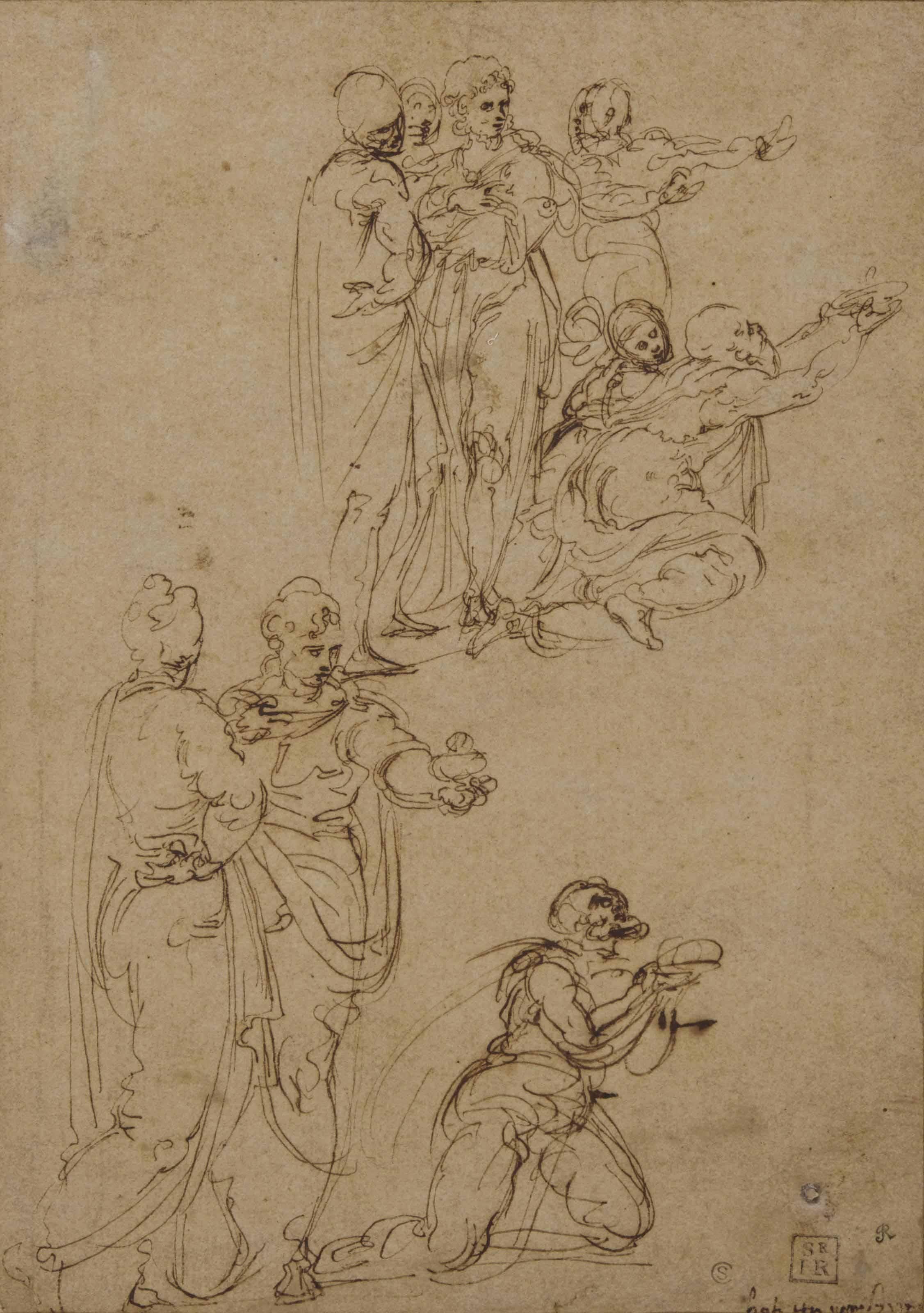 Figures drapées, certaines agenouillées avec les bras tendus