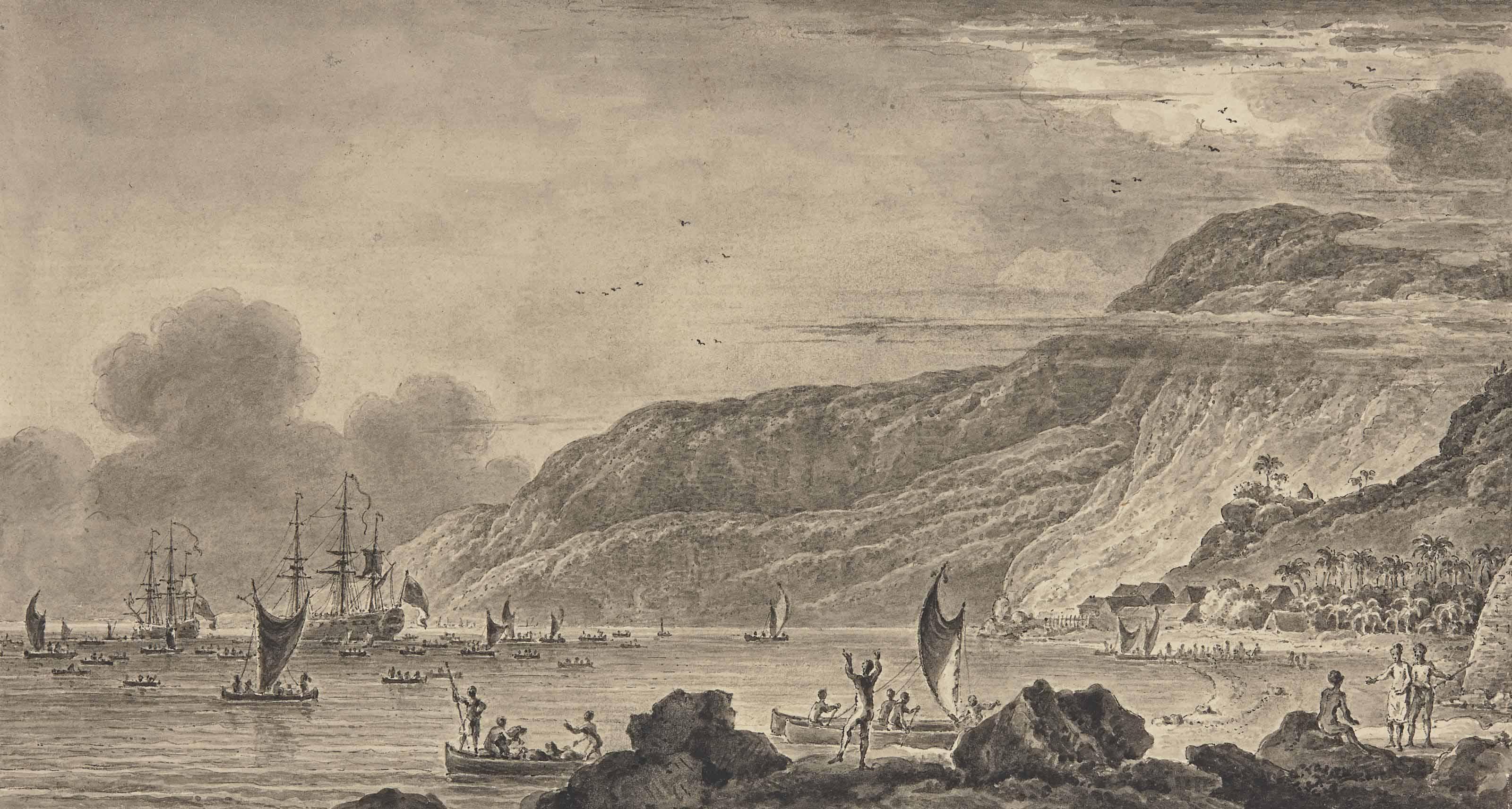 Bateaux dans la baie de Kealakekua sur l'île d'Hawaii (recto); Esquisse de deux voiliers (verso)
