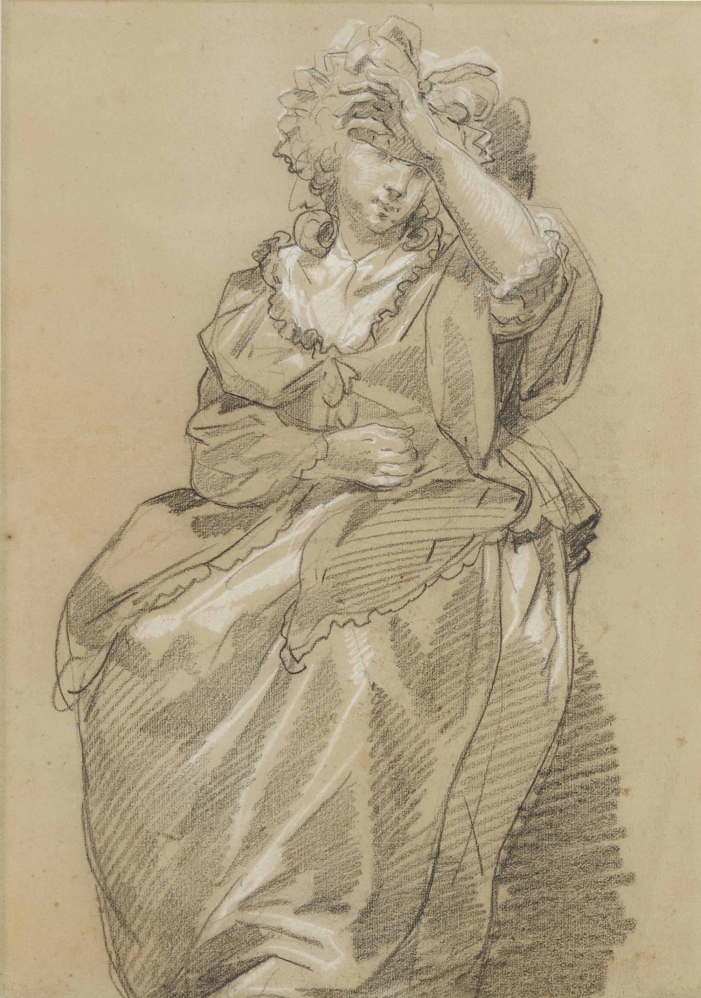 Jeune femme assise, la main gauche sur le front