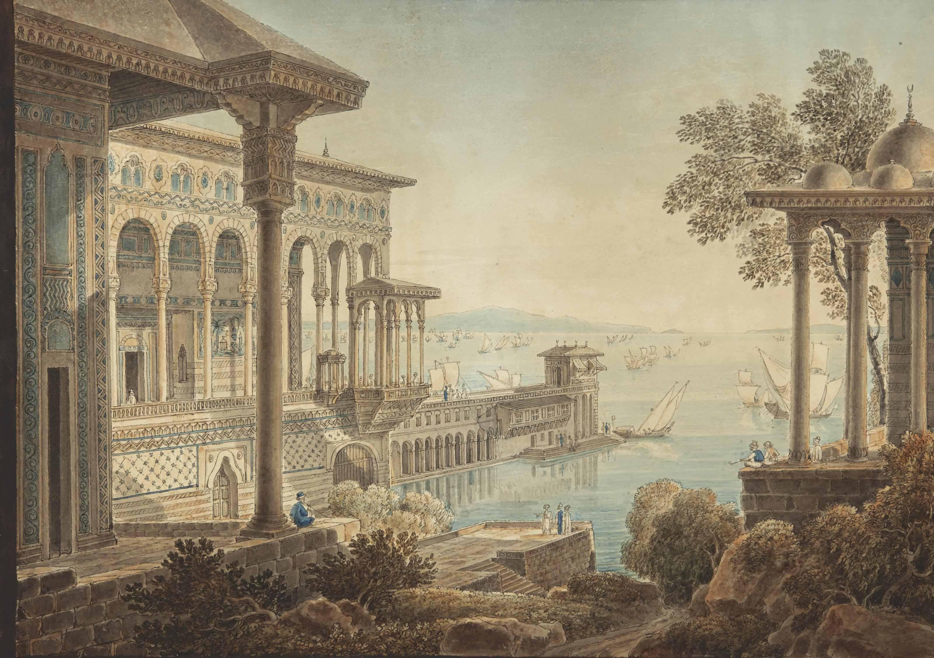 Vue du Bosphore à Constantinople, un palais au premier plan