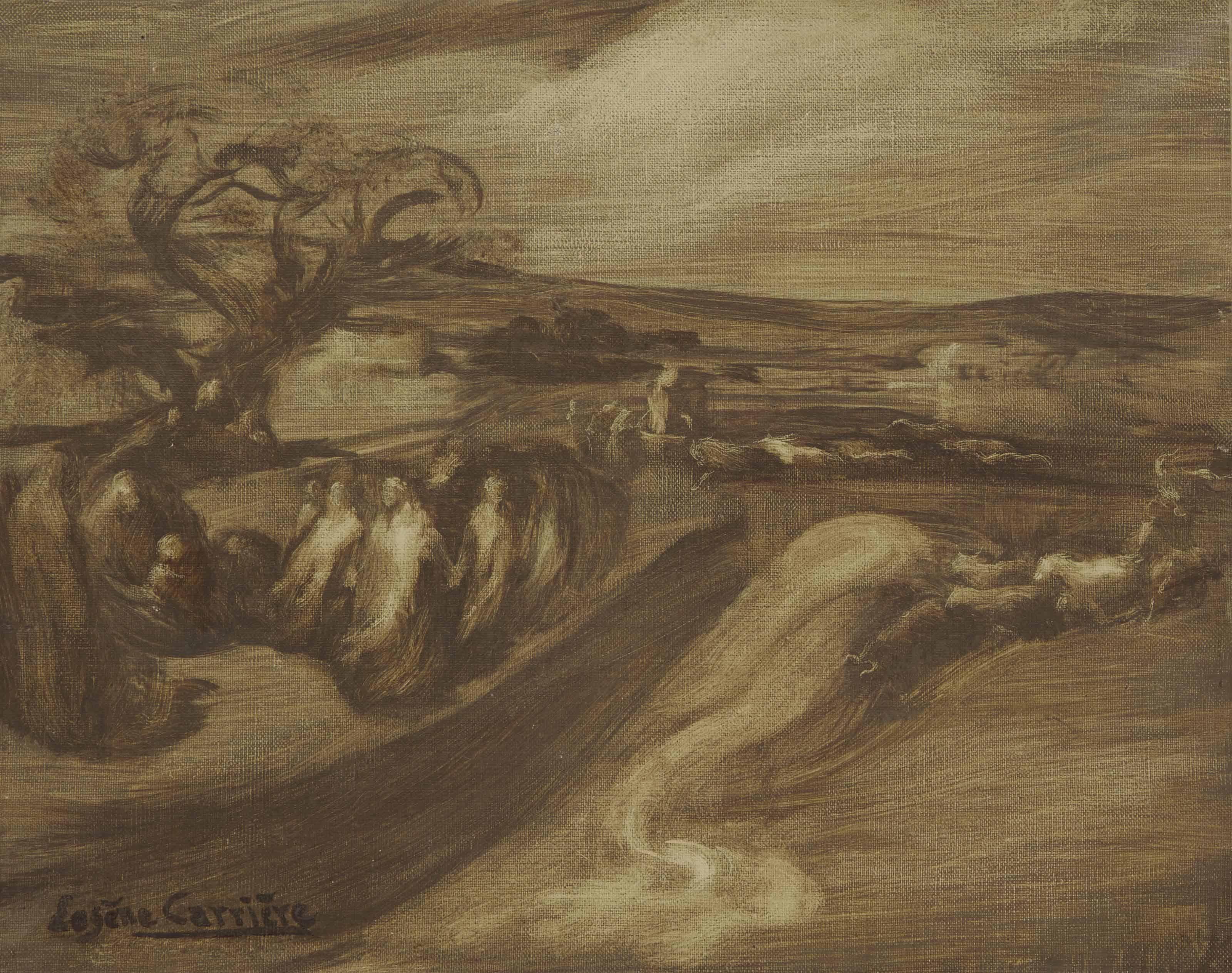 Paysage avec figures: L'Adoration des bergers (?)
