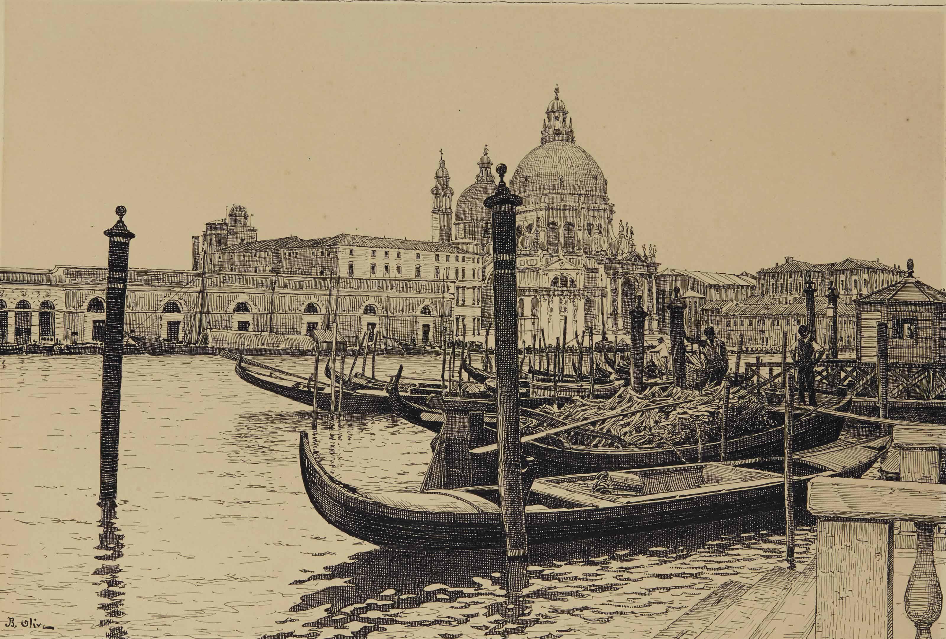 Gondoles sur le Grand Canal à Venise, Santa Maria della Salute à l'arrière-plan