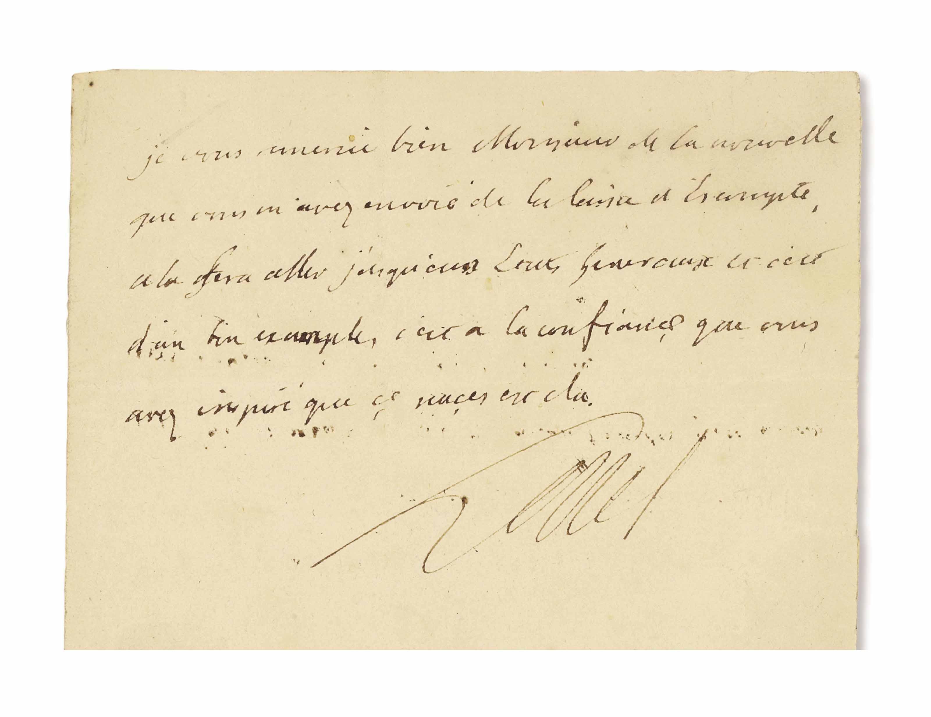 LOUIS XVI (1754-1793). Lettre autographe signée « Louis » adressée à Necker. Sans date [automne 1788 ?]. Demi-page in-8 (180 x 115 mm). À l'encre brune sur un double feuillet de papier vergé à la couronne, suscription autographe au verso, trace de cachet de cire noire.