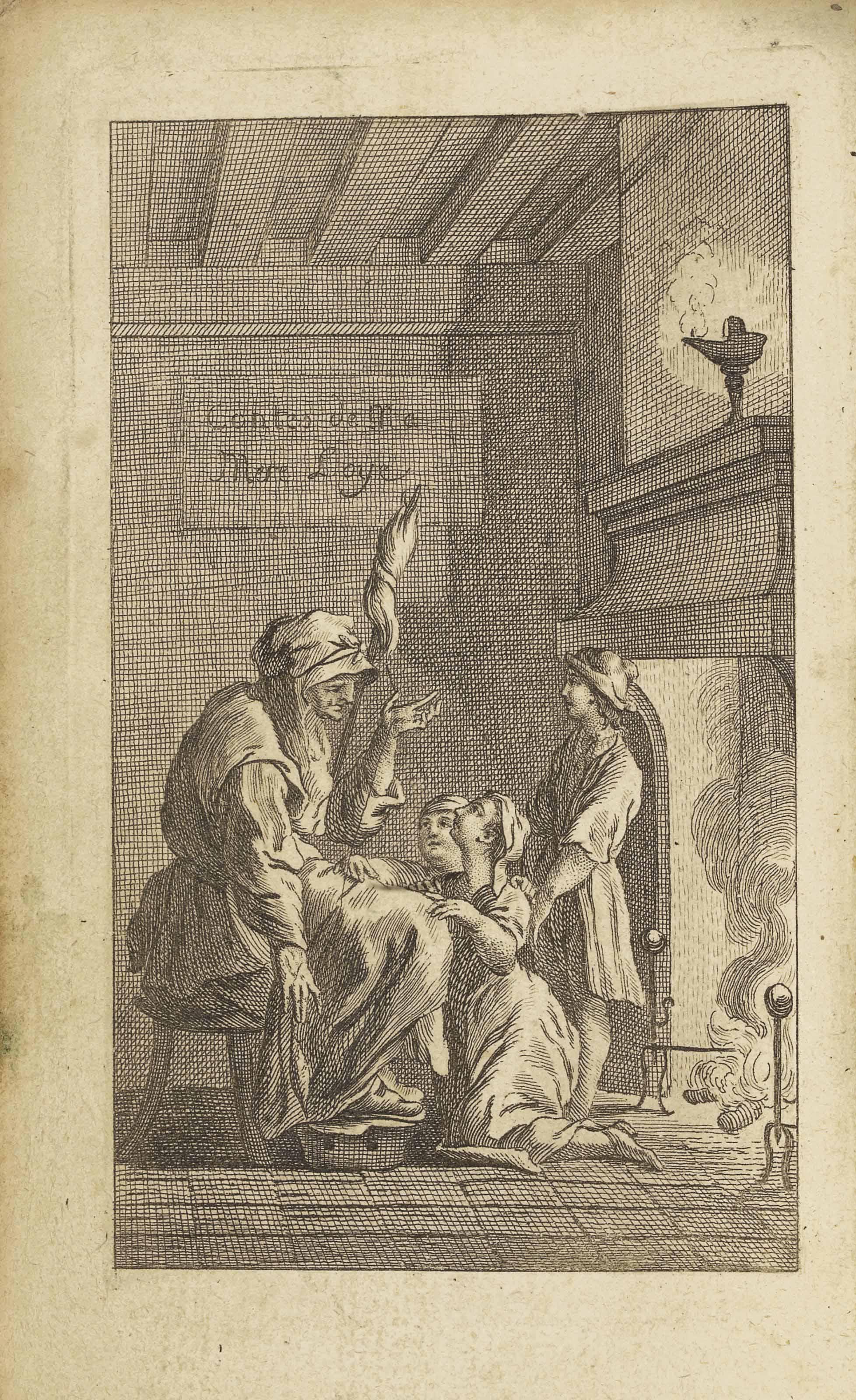 Charles PERRAULT (1628-1703). Contes des fées...contenant le Chaperon rouge, les Fées, la Barbe bleue, la Belle au bois dorm[ant], le Chat botté, Cendrillon, Riquet à la Houpe, le Petit Poucet, l'Adroite Princesse, Griselidis, Peau d'âne, les Souhaits ridicul[es]. Nouvelle édition dédiée à Son Altesse Sérénissime Mgr. Le duc de Montpensier. A Paris : chez Lamy, 1781. In-16 (142 x 90 mm). Deux parties en un volume, frontispice et 11 bandeaux d'après de Sève et Martinet, 13 en raison de la répétition des bandeaux de Martinet pour Peau d'âne et Grisélidis. (Titre un peu sali, taches p. 92 et 401, cahier K légèrement bruni, petite déchirure dans la marge extérieure du f. Z5 sans atteinte au texte.) Veau fauve de l'époque, 1 filet à froid, dos à 5 nerfs, pièce de titre verte, tranches rouges (petites restaurations aux coins, coiffes et charnière supérieure un peu frottées).