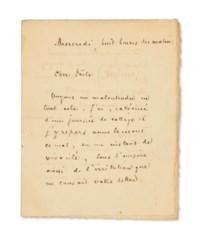 Stéphane MALLARMÉ (1842-1898). Lettre autographe signée à Paul Verlaine, datée « Mercredi, huit heures du matin » [1894 ?]. 3 pages in-12 (135 x 107). Encre brune sur papier vergé. (Infimes rousseurs.)