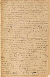 Louis ARAGON (1897-1982). Lorsque tout est fini. Manuscrit autographe. Un titre et 9 pages et demie in-folio montées sur onglets (310 x 210 mm). Encre et crayon sur papier. (Premier feuillet amputé du premier paragraphe et monté sur papier fort. Papier jauni). Box noir, étui assorti.