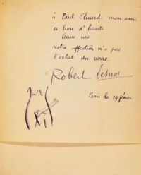 Robert DESNOS (1900-1945). Deuil pour deuil. Paris: Éditions du Sagittaire, Simon Kra (1924). In-8 avec témoins (190 x 164 mm). Reproduction d'un fragment autographe du manuscrit de l'auteur en frontispice. Reliure signée de A.-J. Gonon, datée de 1926. Bradel demi-parchemin à mors obliques peints en noir, plats de papier marbré noir et or, titre peint à l'encre noire sur le dos, avec le nom de l'auteur à la chinoise, doublure et gardes de papier marbré rouge, noir et or, non rogné, couverture et dos conservés (reliure légèrement salie).