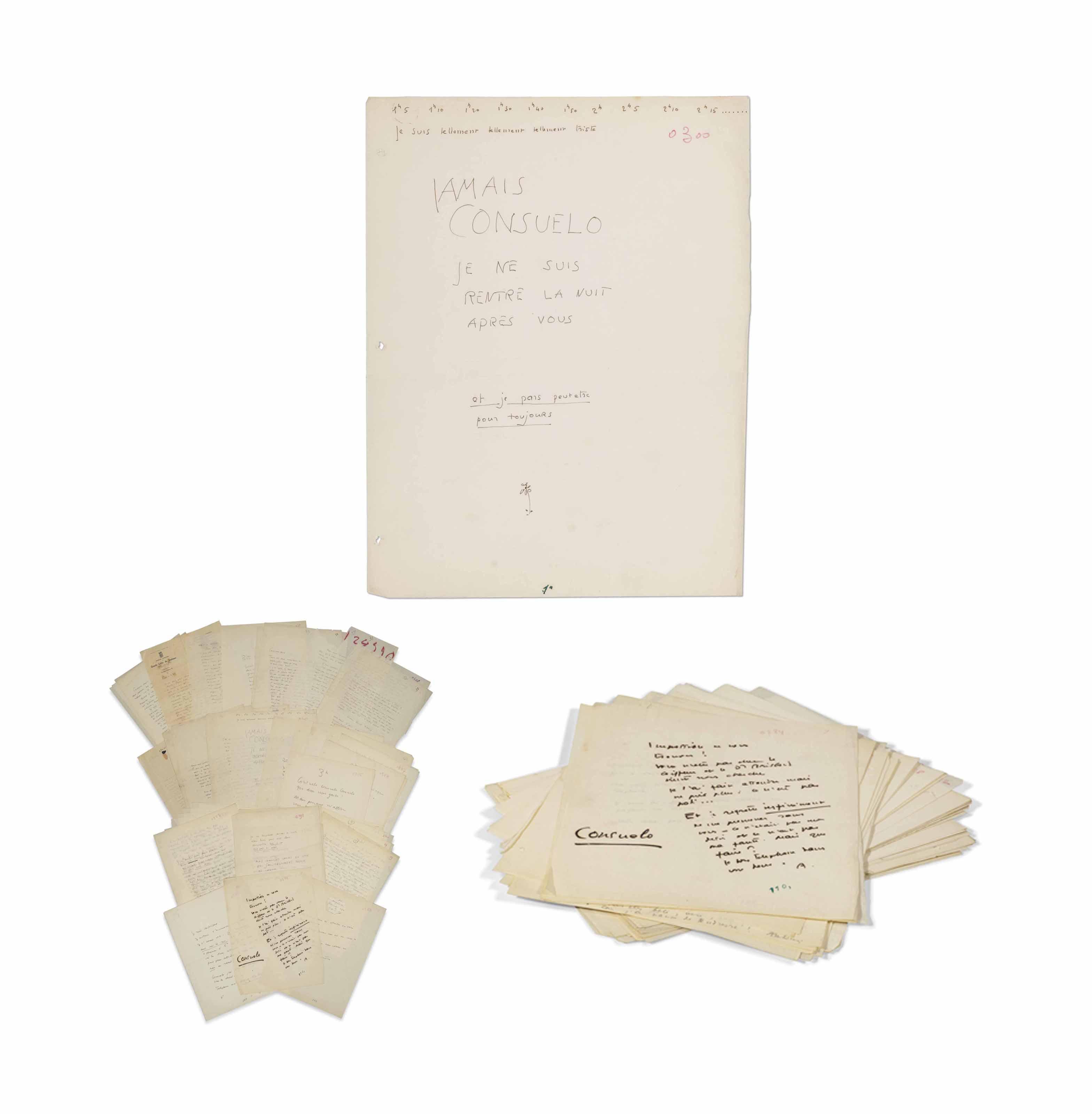 Antoine de SAINT-EXUPÉRY (1900-1944). 31 lettres et billets autographes dont 15 signés « Antoine » ou « A » à son épouse Consuelo. Non datés, [1931-1944]. 52 pages in-4 (270 x 210 mm), un feuillet à en-tête de la Société anonyme des Grands Cafés de Toulouse. À l'encre ou au crayon, la plupart sur papier pelure, certains feuillets avec traces de perforation, quatre avec petites déchirures ou découpures sans atteinte au texte, avec des numéros de différentes collations portés au crayon ou à l'encre. Une lettre de 10 pages, une autre de 8 et 3 lettres incomplètes.