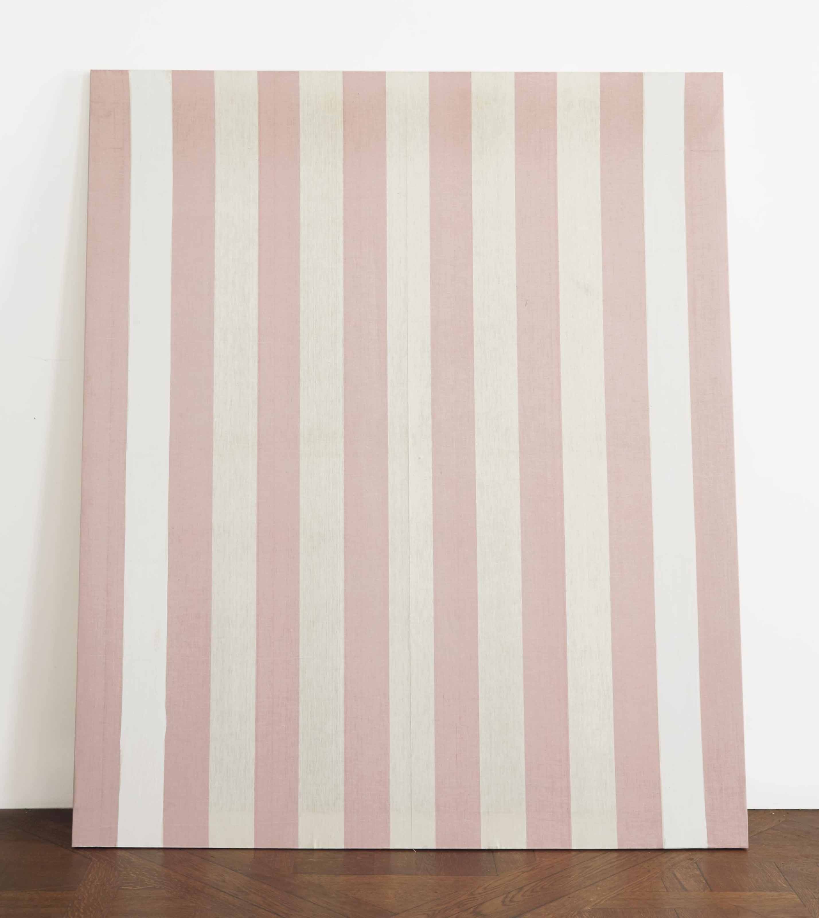Peinture acrylique blanche sur tissu rayé blanc et rouge