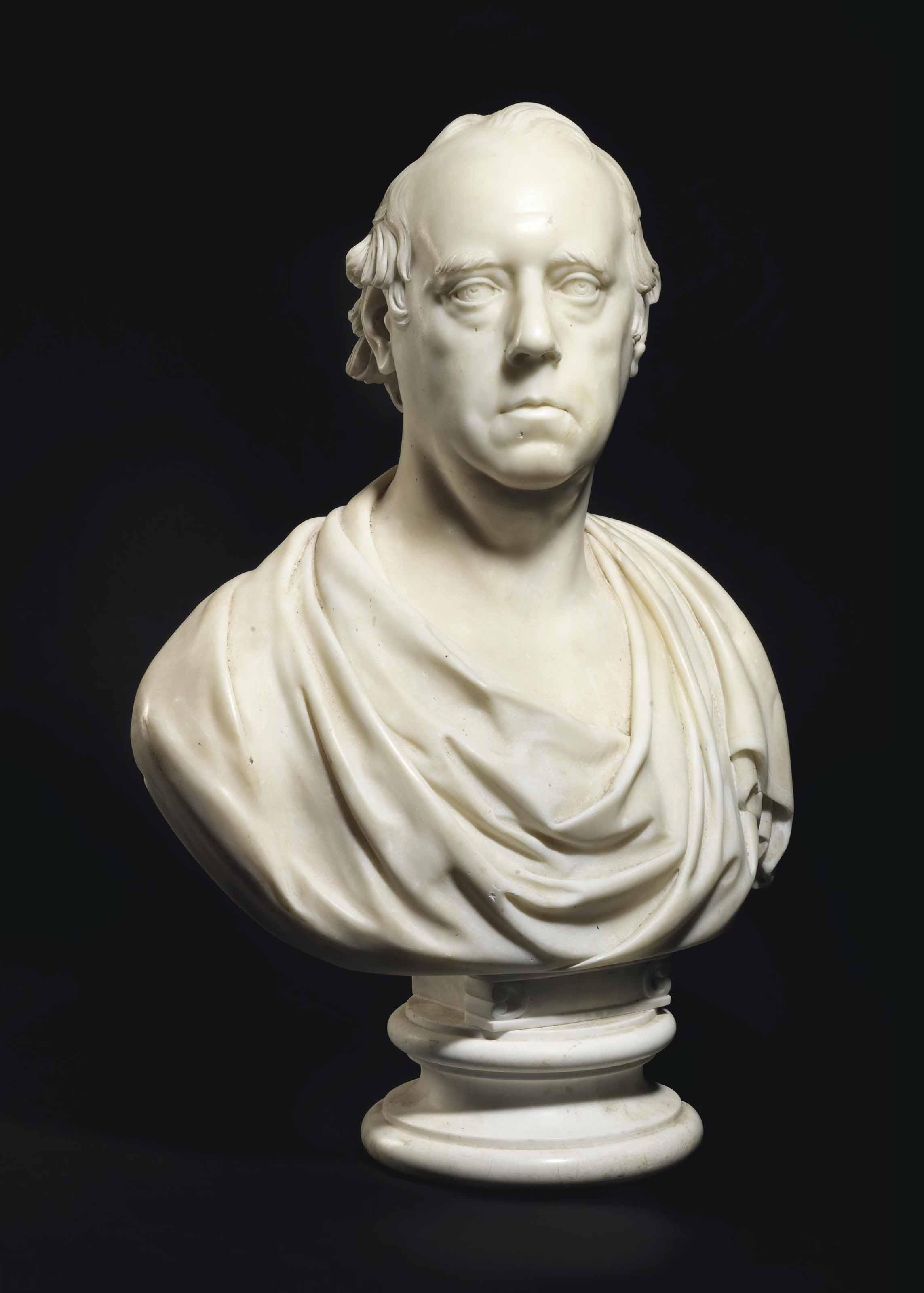 BUSTE EN MARBRE SCULPTE REPRESENTANT CHARLES KENDAL BUSHE (1767-1843), LORD JUGE EN CHEF D'IRLANDE