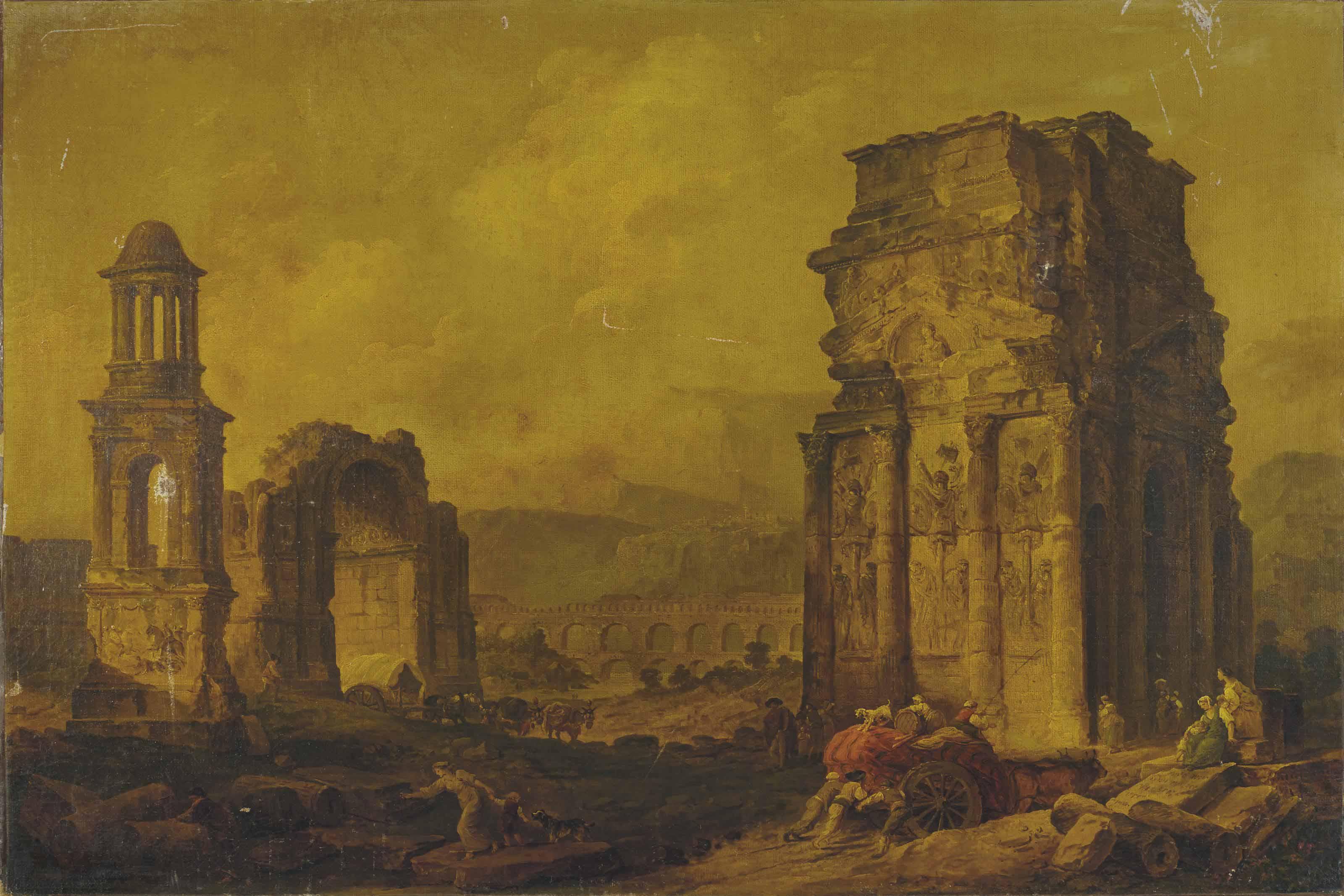 Caprice architectural avec les ruines de monuments provençaux célèbres