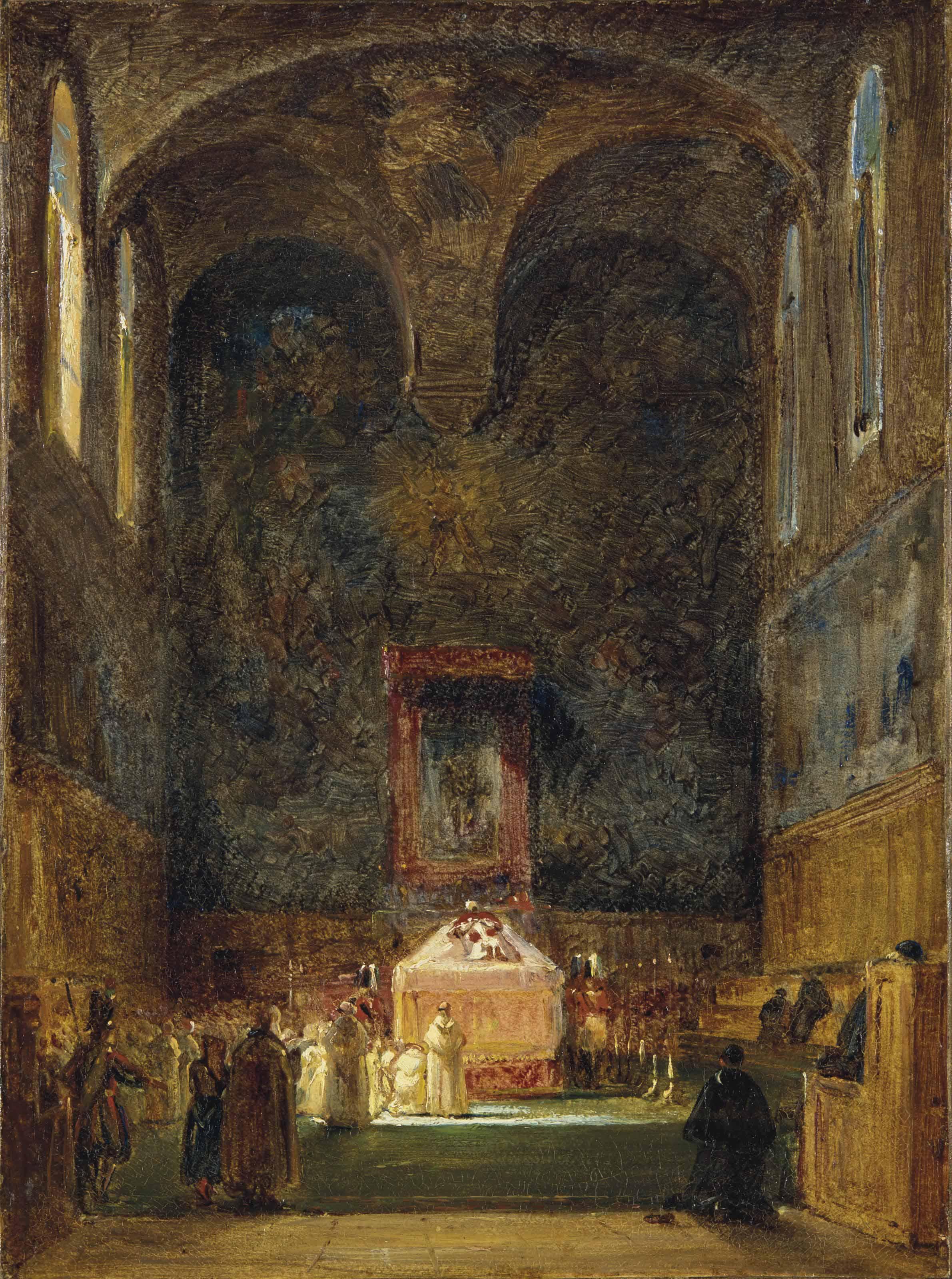 Le catafalque du Pape dans la Chapelle Sixtine