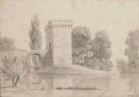 Vue d'un lac avec une tour et un pont