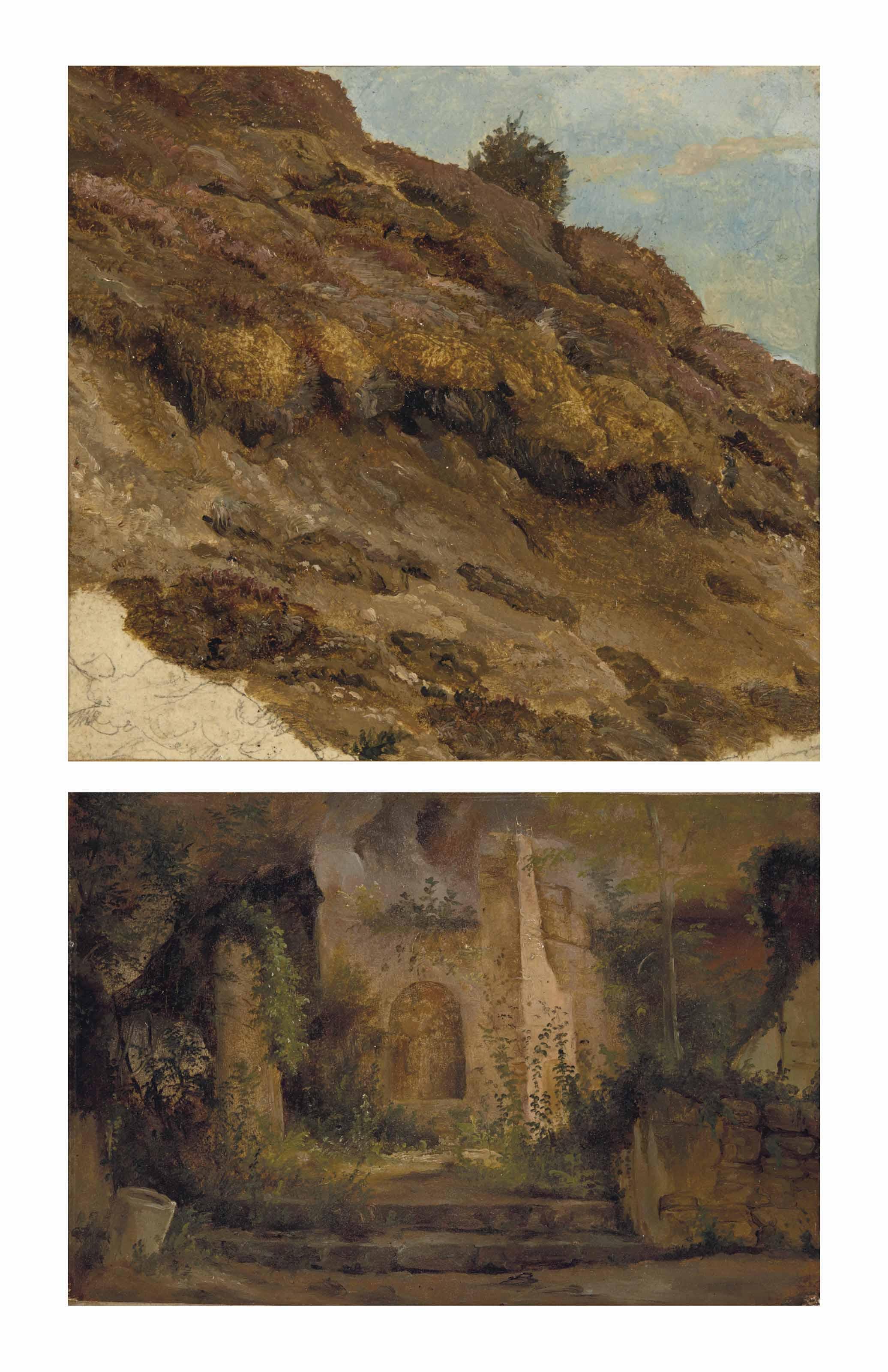 HERMANN KAUFFMANN LE VIEUX (HAMBOURG 1808-1889) Étude de rochers  huile sur papier marouflé sur toile 16,2 x 17,5 cm. (6 3/8 x 6 7/8 in.)