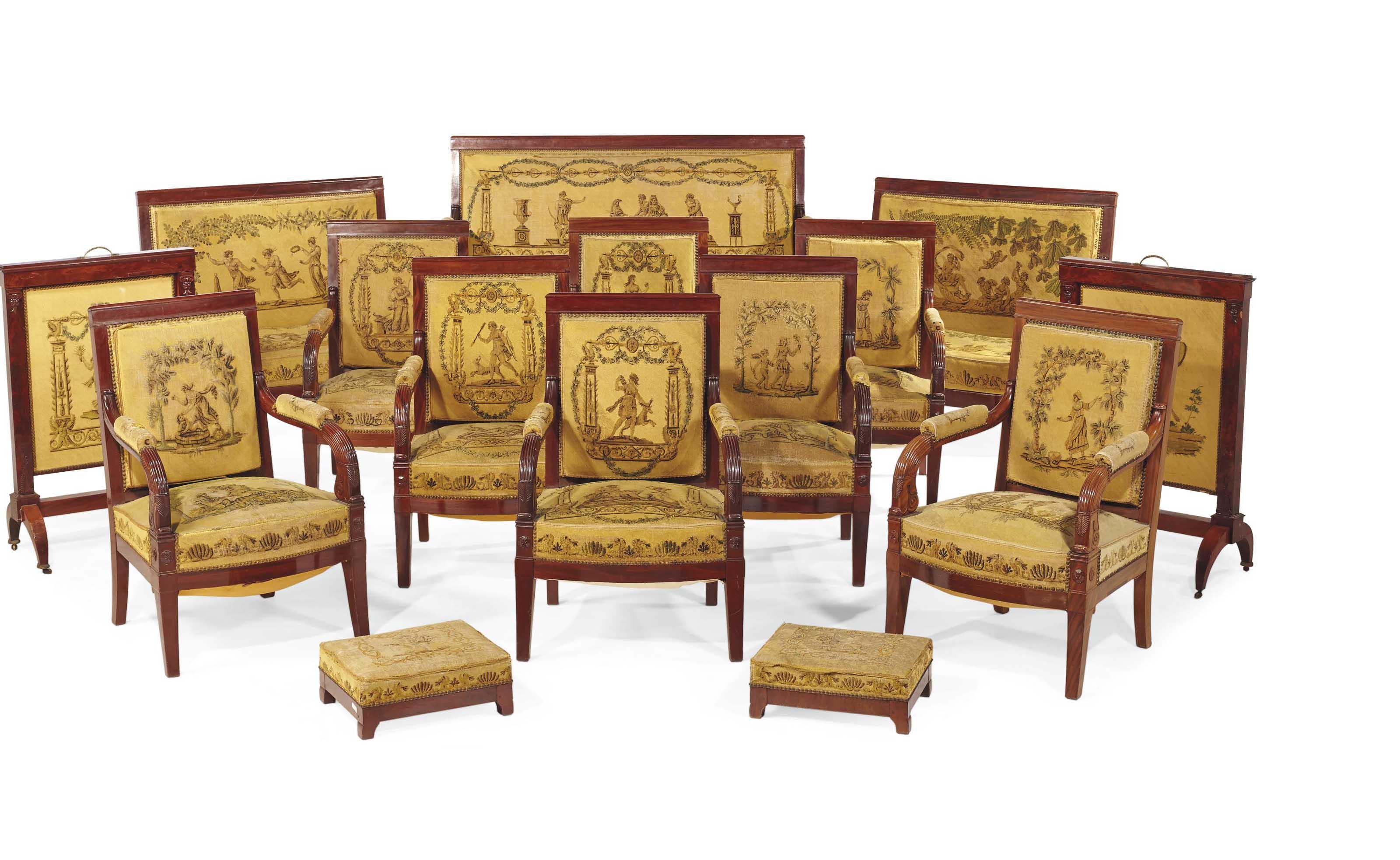 mobilier de salon d 39 epoque empire attribue a francois honore georges jacob desmalter vers. Black Bedroom Furniture Sets. Home Design Ideas