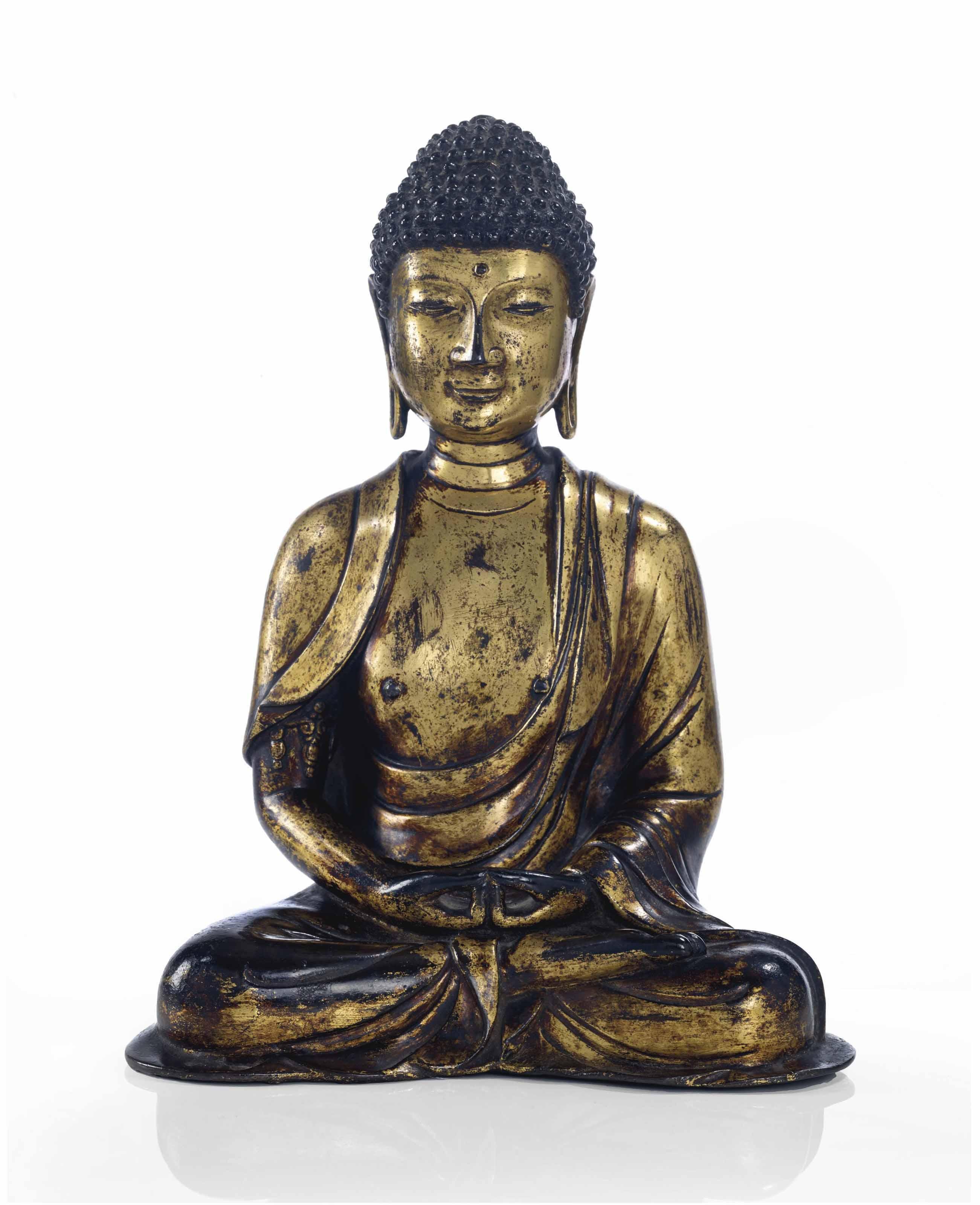 importante statue de bouddha amitabha en bronze dore. Black Bedroom Furniture Sets. Home Design Ideas
