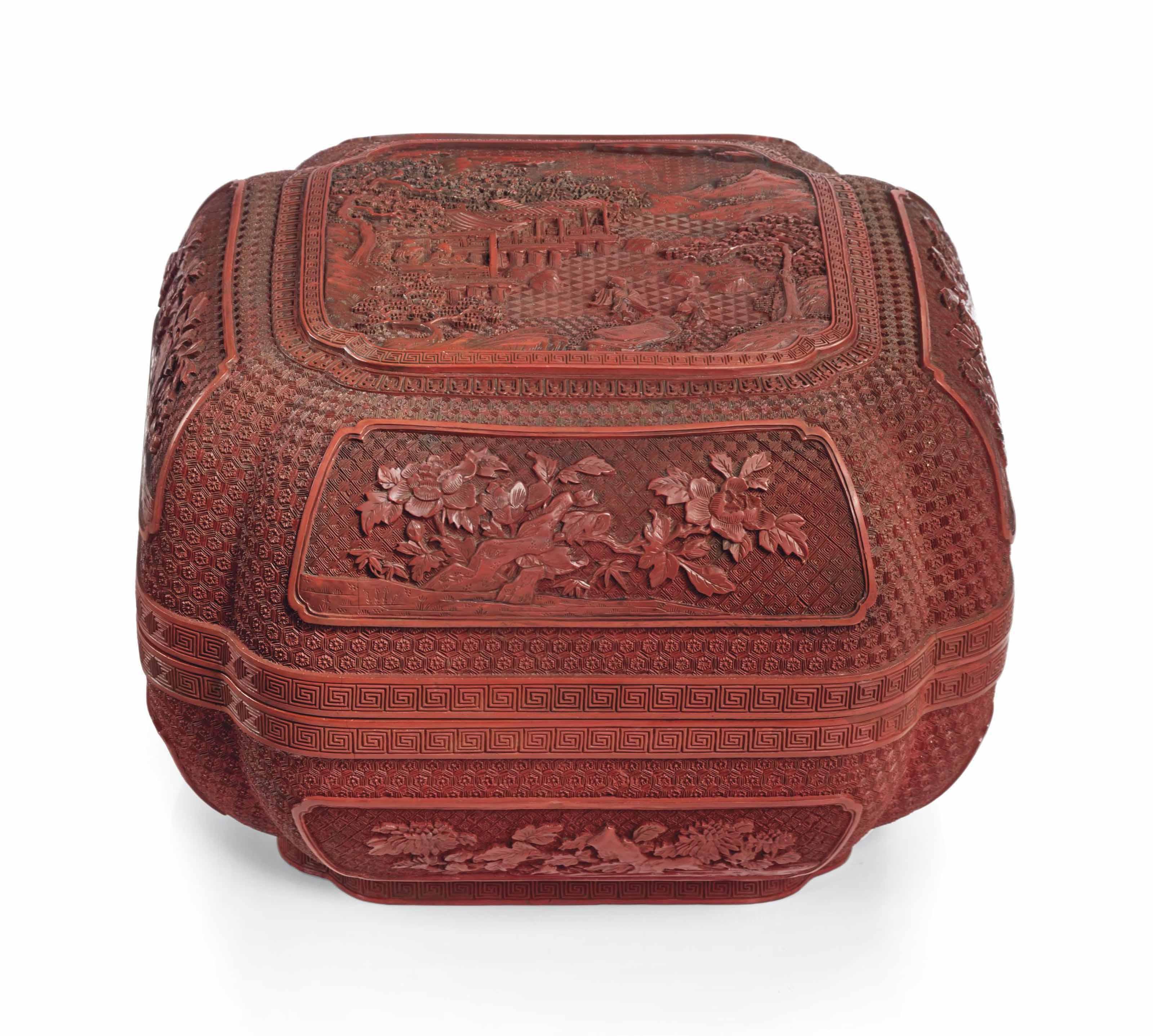 boite couverte en laque rouge sculptee chine dynastie qing xviiieme siecle christie 39 s. Black Bedroom Furniture Sets. Home Design Ideas