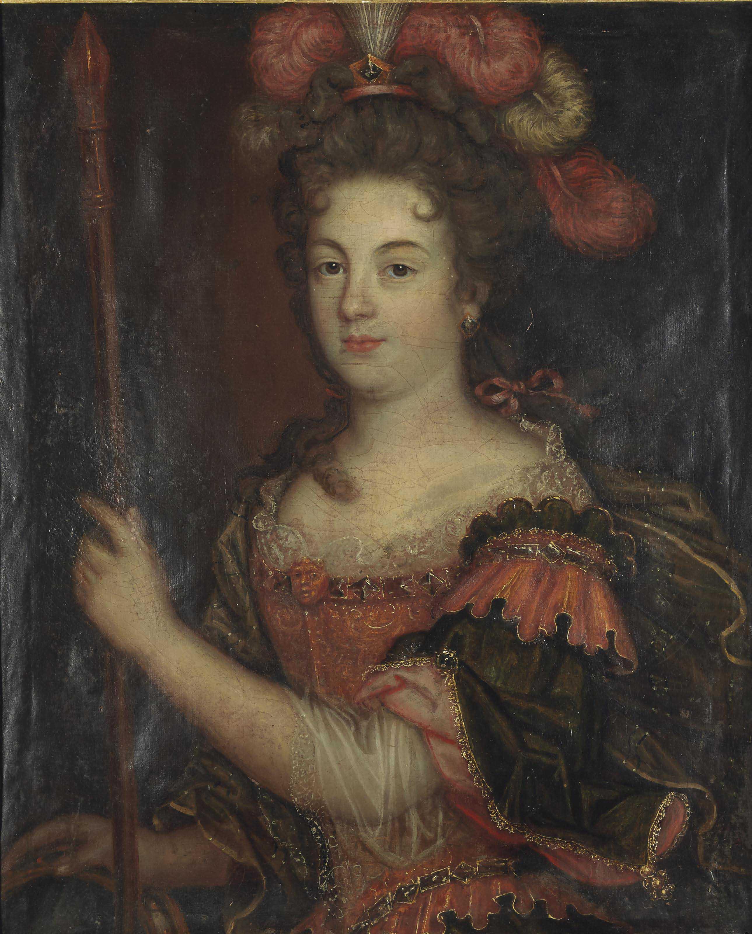 Portrait de dame au chapeau à plumes