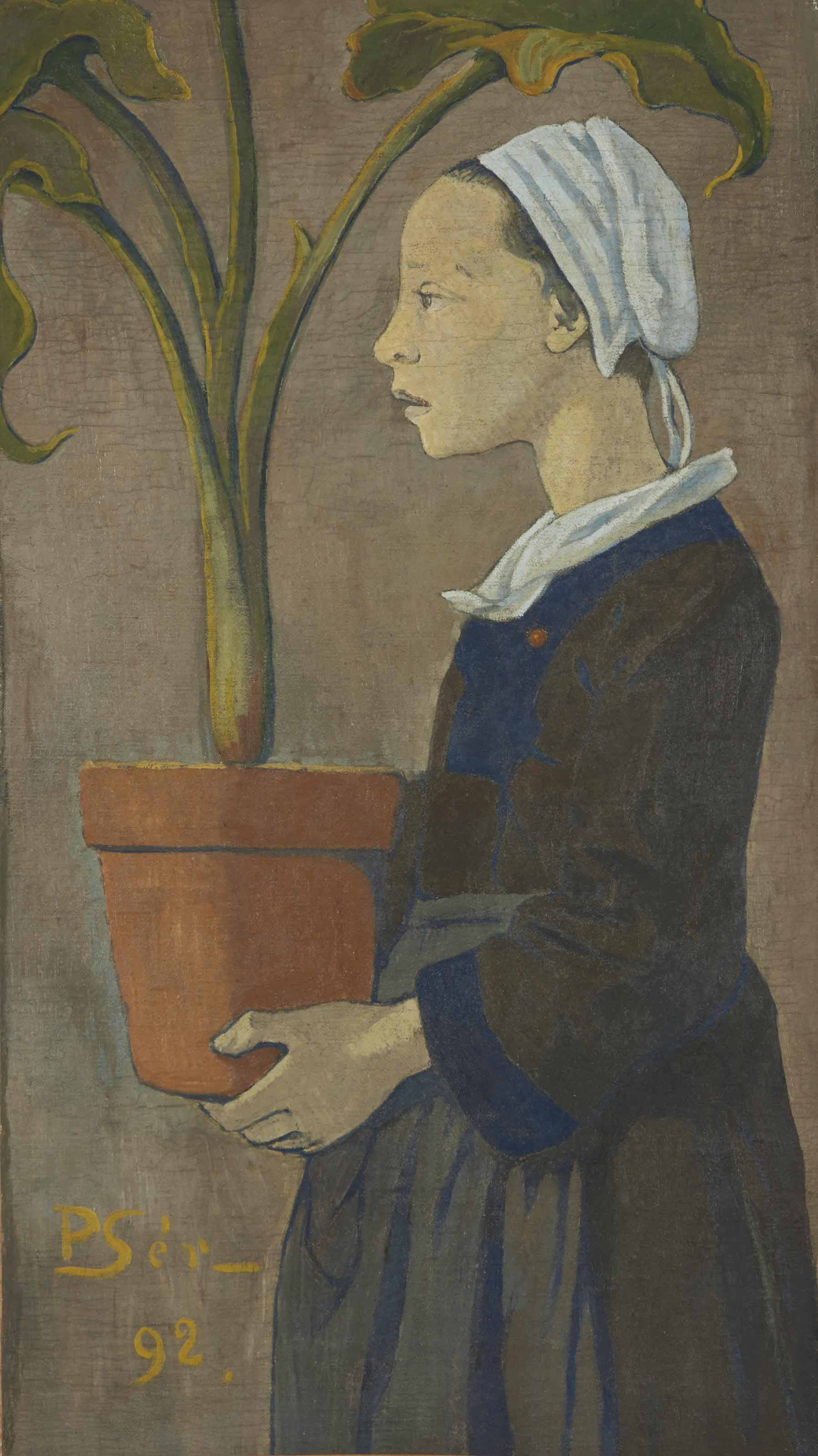 Petite bretonne au pot d'arum