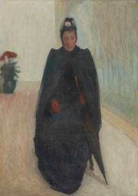 Femme assise avec un parapluie