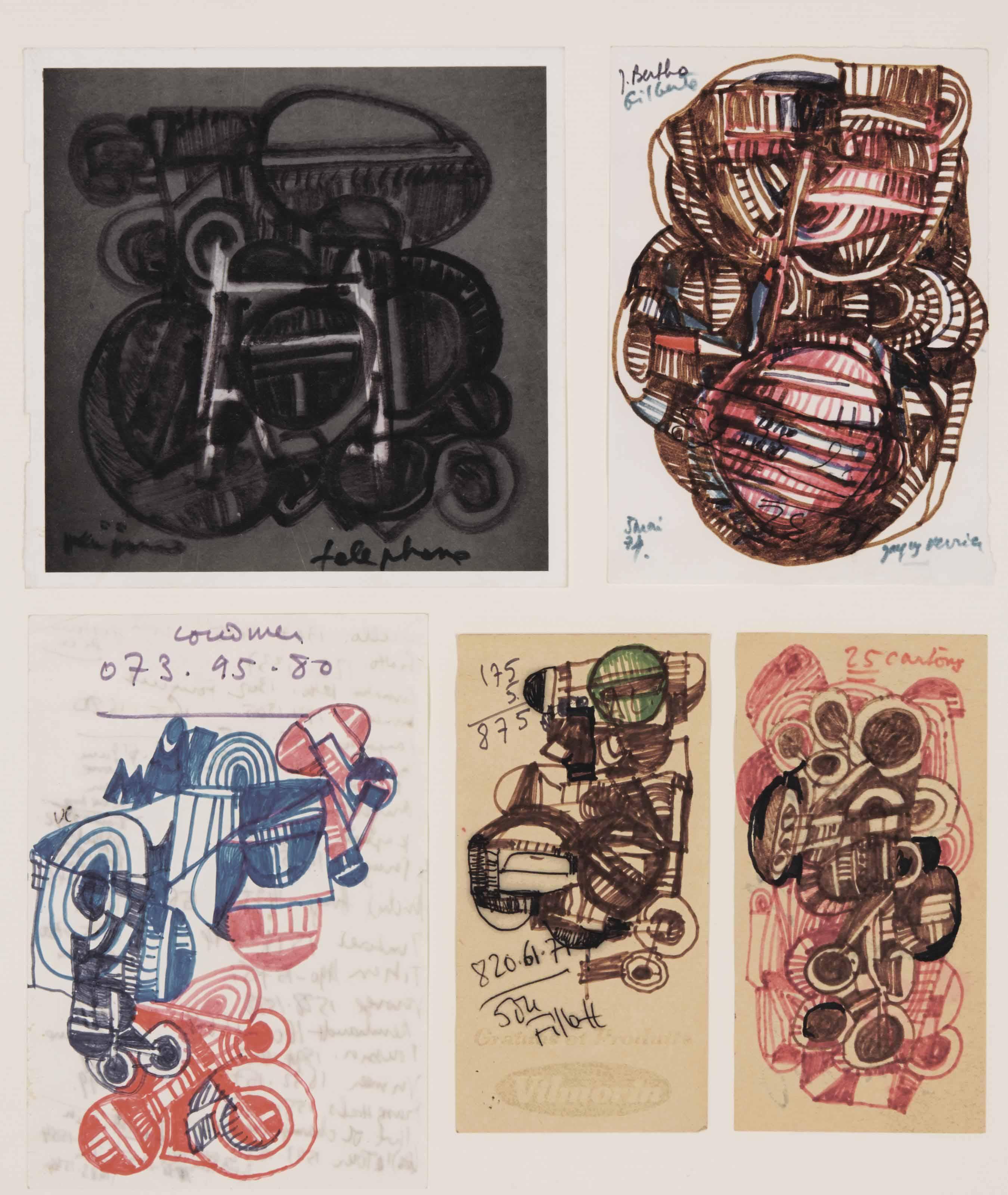 Cinq dessins de téléphone