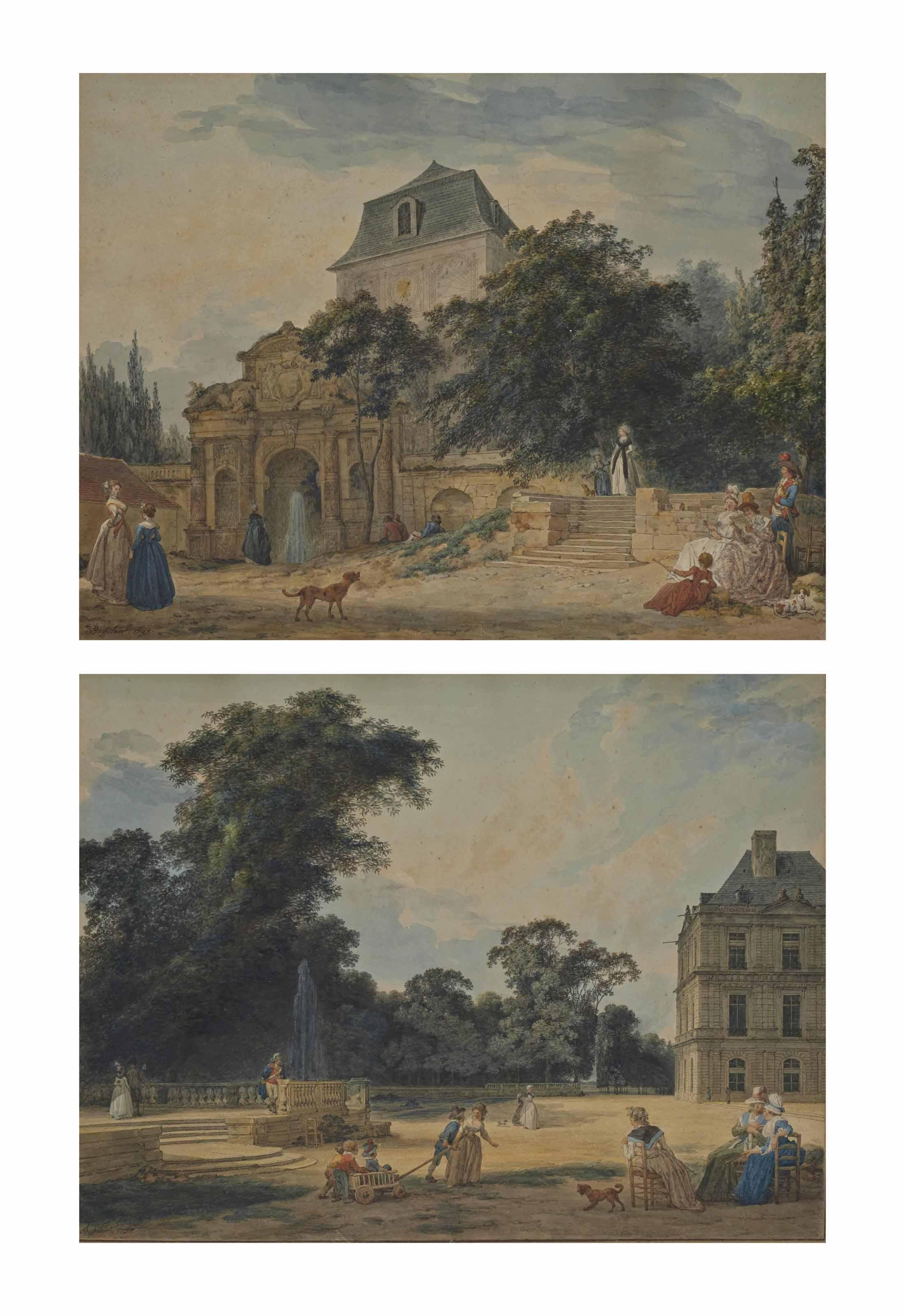Personnages aux abords de la fontaine Medicis dans le jardin du Luxembourg, les bâtiments du séminaire Saint-Louis à l'arrière-plan; et Mères et enfants au Jardin du Luxembourg