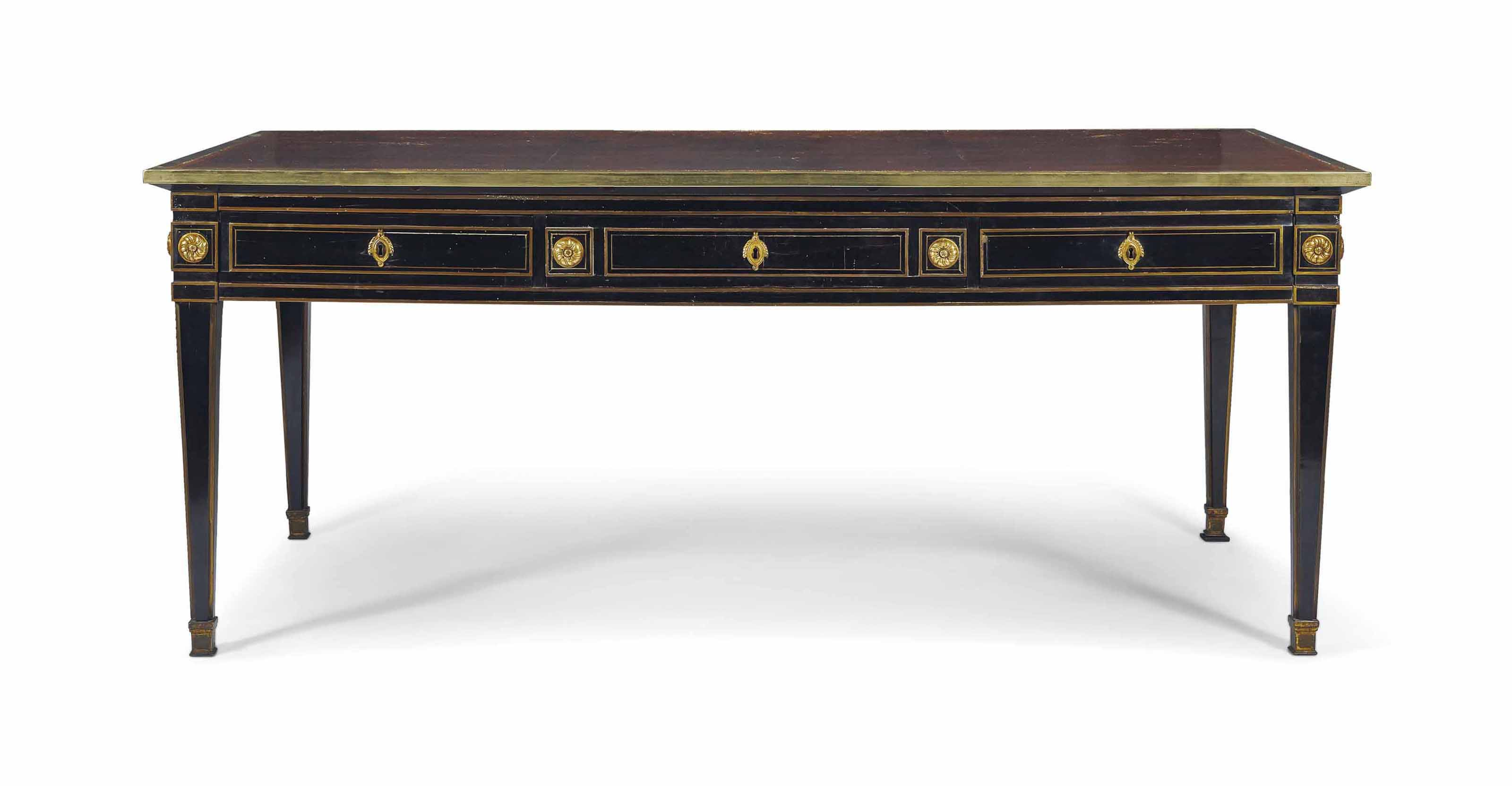 bureau plat d 39 epoque louis xvi estampille de philippe. Black Bedroom Furniture Sets. Home Design Ideas