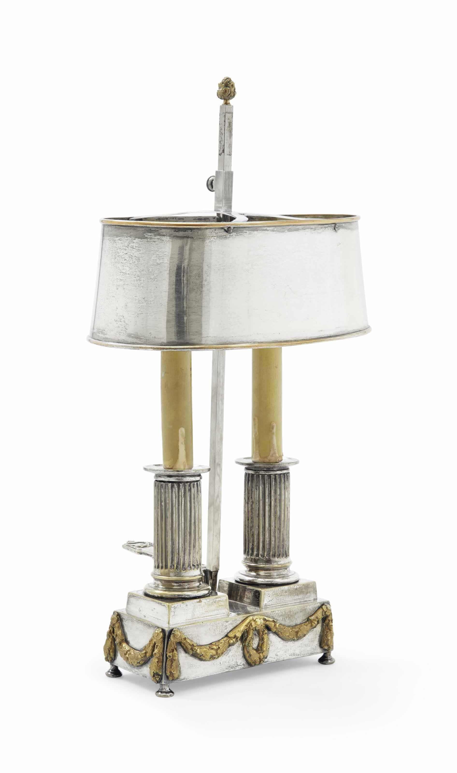 LAMPE EN METAL ARGENTE ET DORE