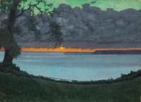 Coucher de soleil à Grâce, ciel orangé et vert, 1918