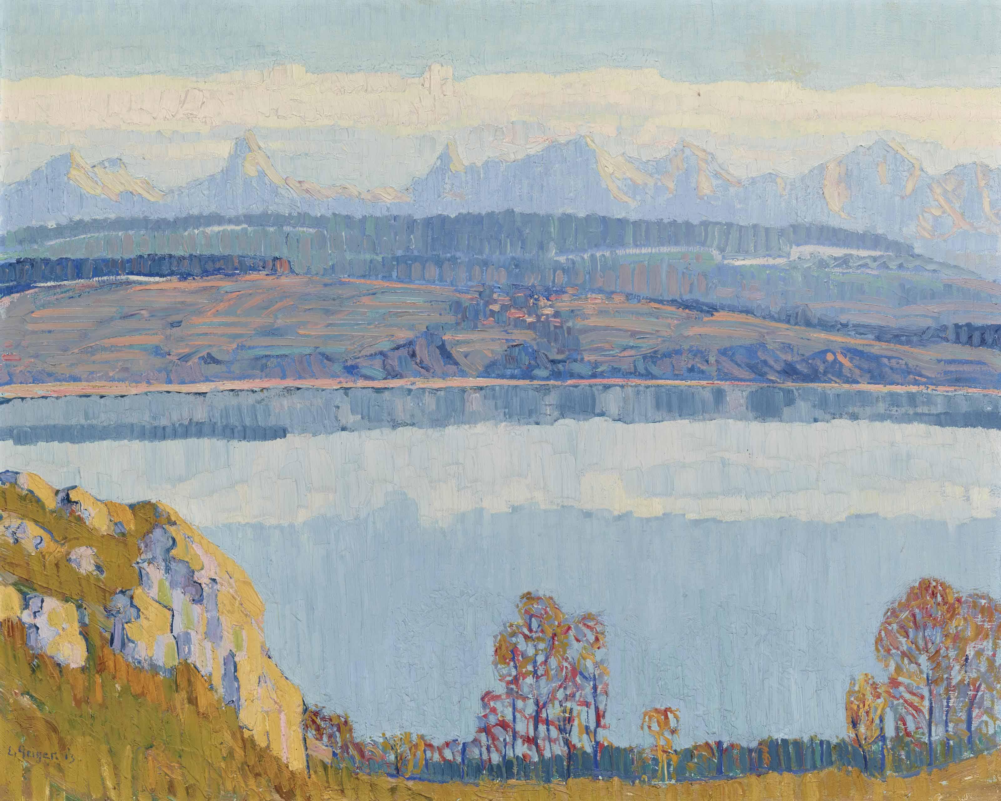 Bielersee mit Blick auf Berner Alpen, 1913