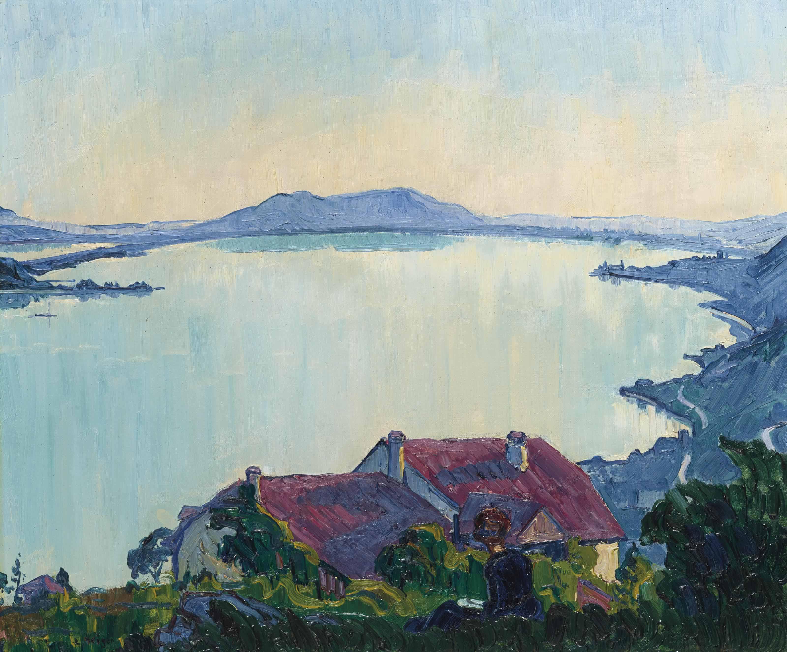 Abendlandschaft am Bielersee, um 1915