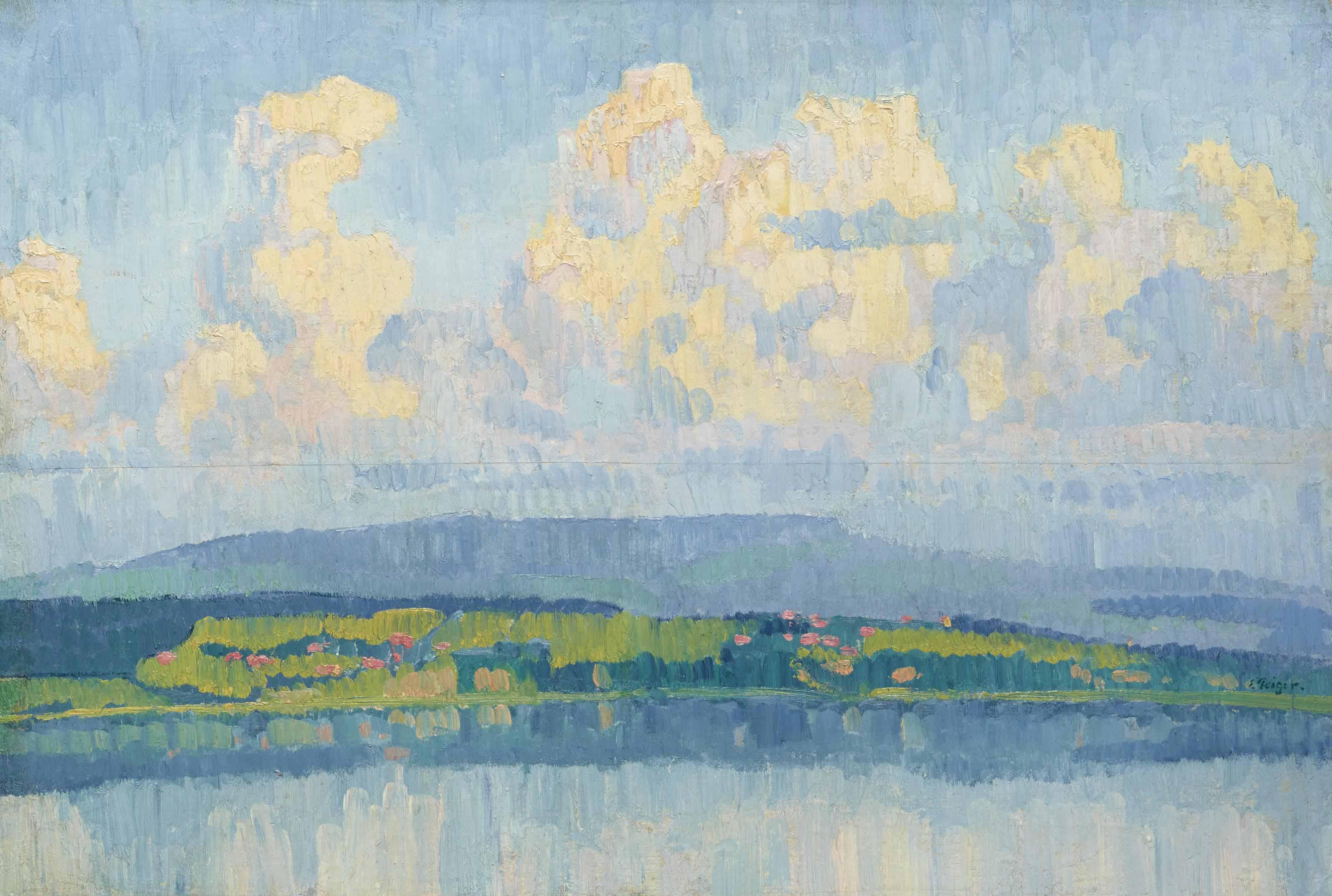 Sommernachmittag am Bielersee, um 1912
