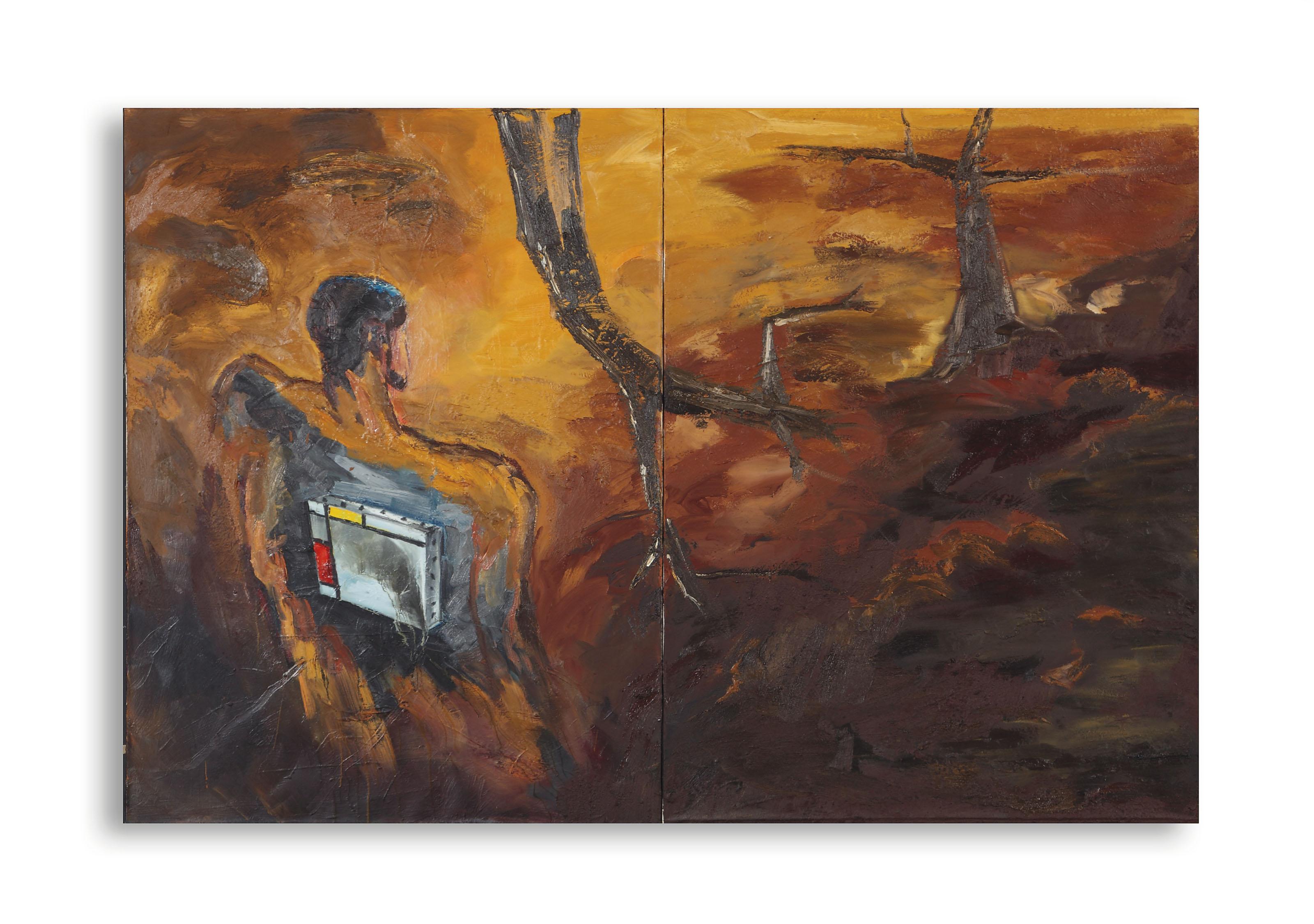 Untitled (Figur mit Mondrian-Bild) (Figure with Mondrian Painting)