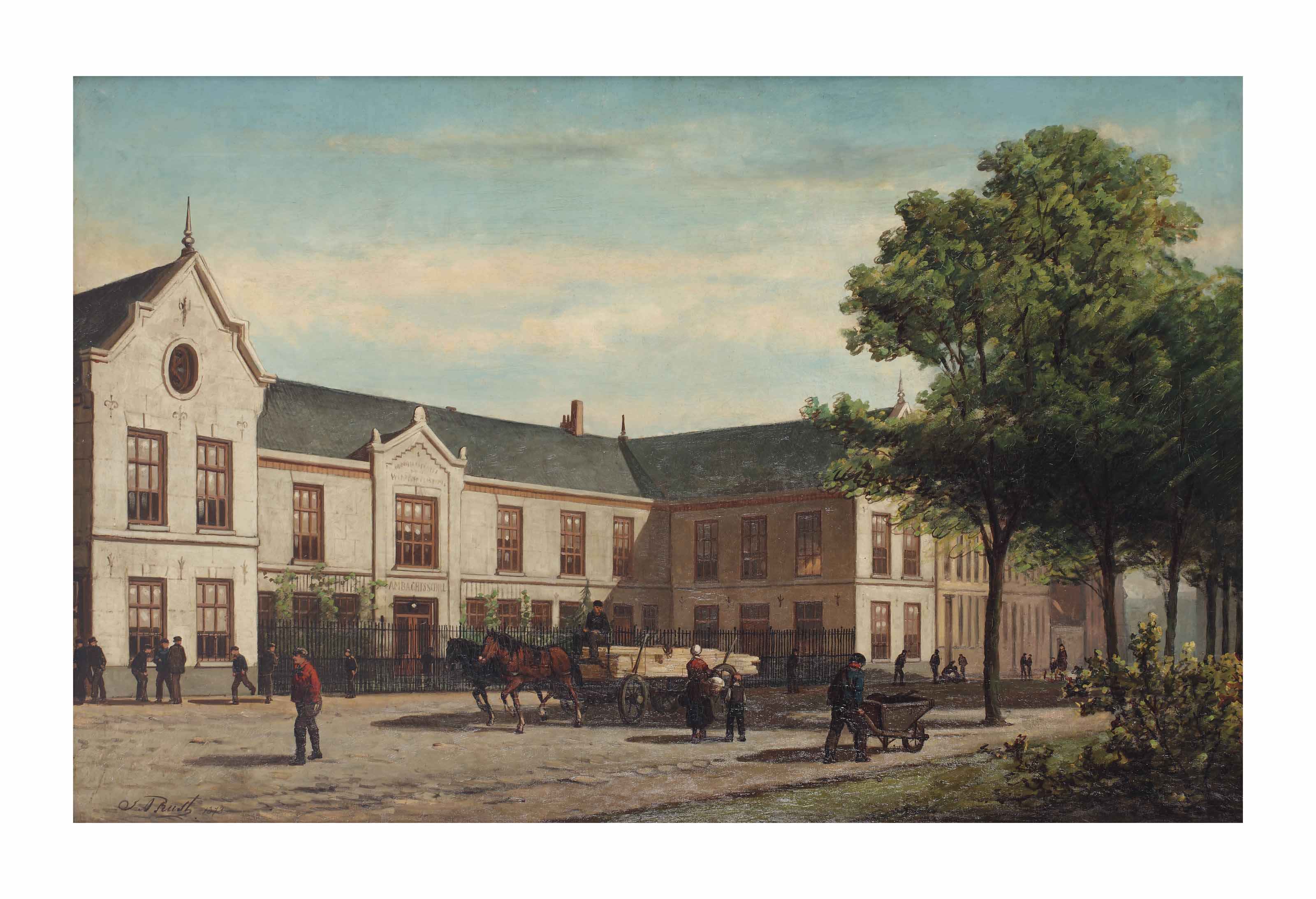 A busy day outside the Ambachtsschool, Weteringschans, Amsterdam