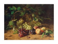 Grapes and peaches on a forest floor