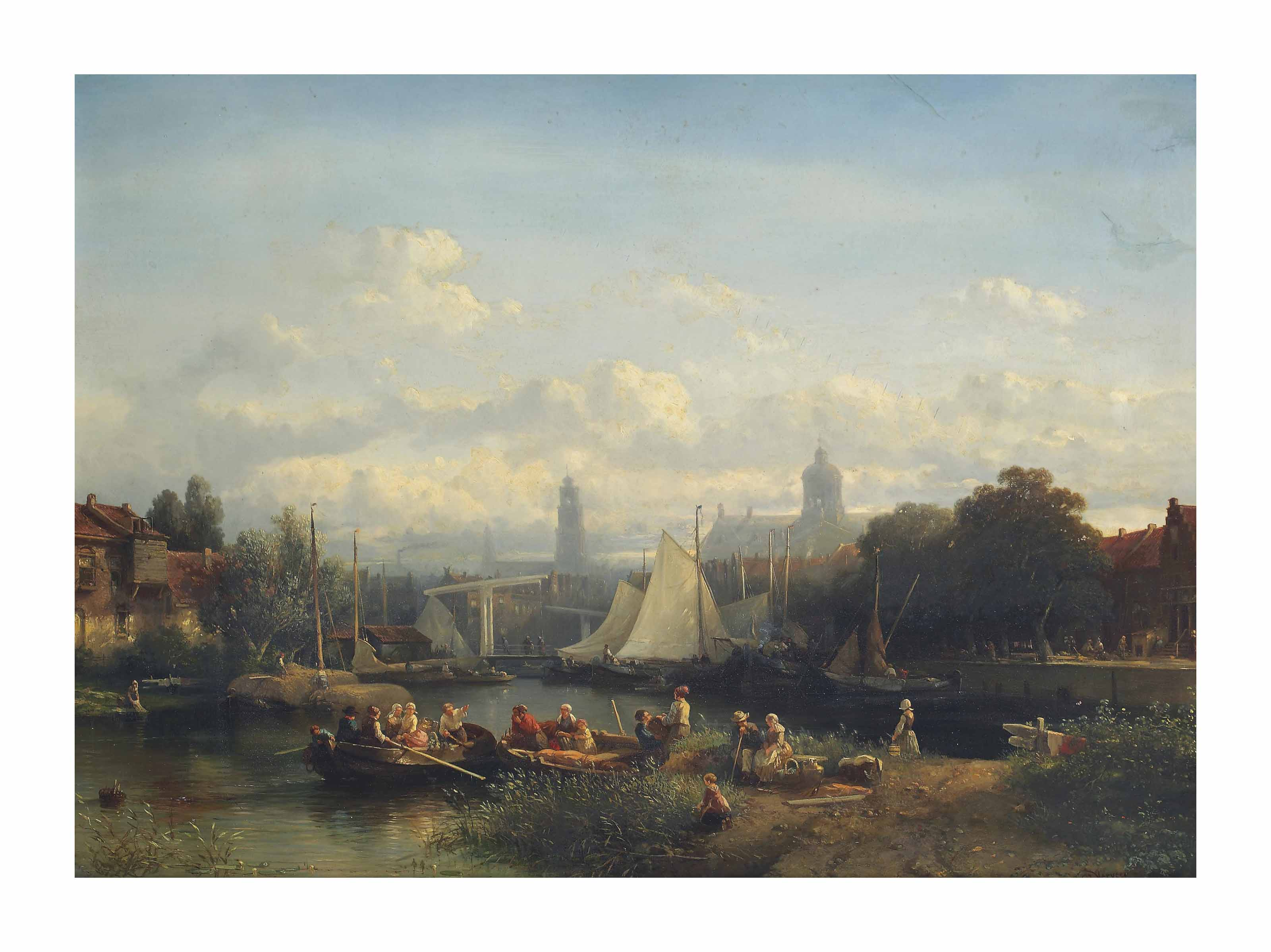 A capriccio view of Amsterdam with figures preparing for a boattrip on a sunny day